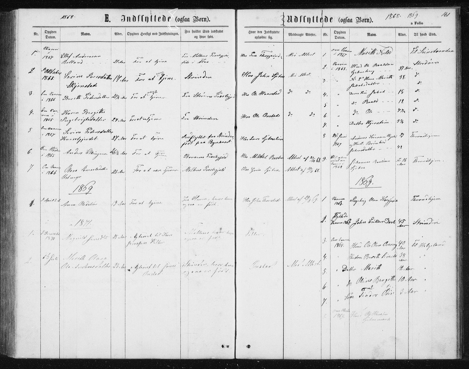 SAT, Ministerialprotokoller, klokkerbøker og fødselsregistre - Sør-Trøndelag, 621/L0459: Klokkerbok nr. 621C02, 1866-1895, s. 161