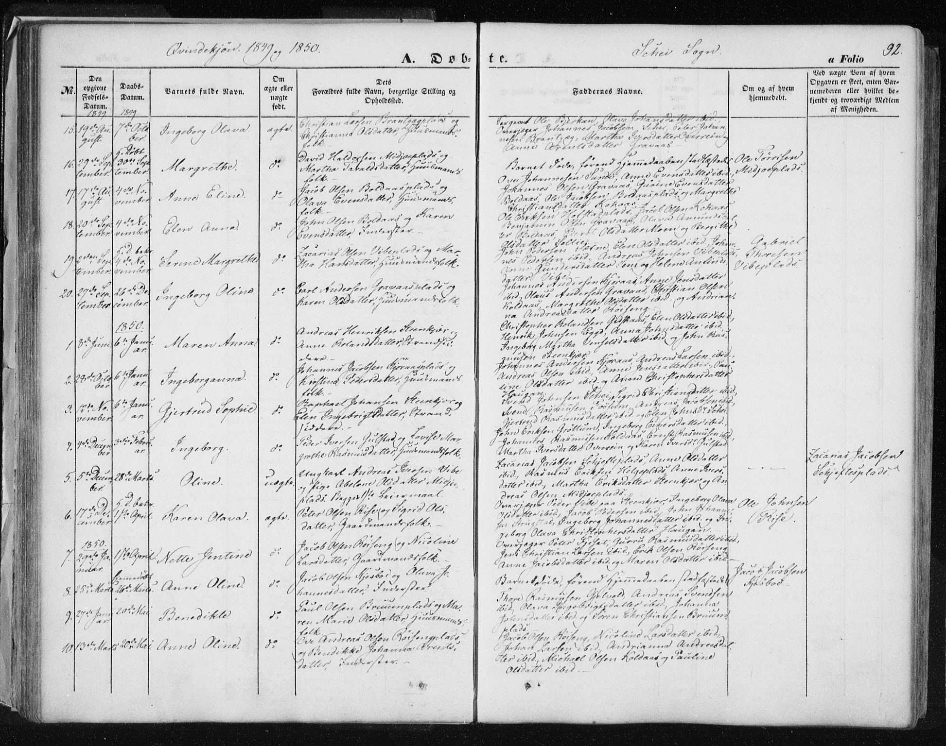 SAT, Ministerialprotokoller, klokkerbøker og fødselsregistre - Nord-Trøndelag, 735/L0342: Ministerialbok nr. 735A07 /2, 1849-1862, s. 92