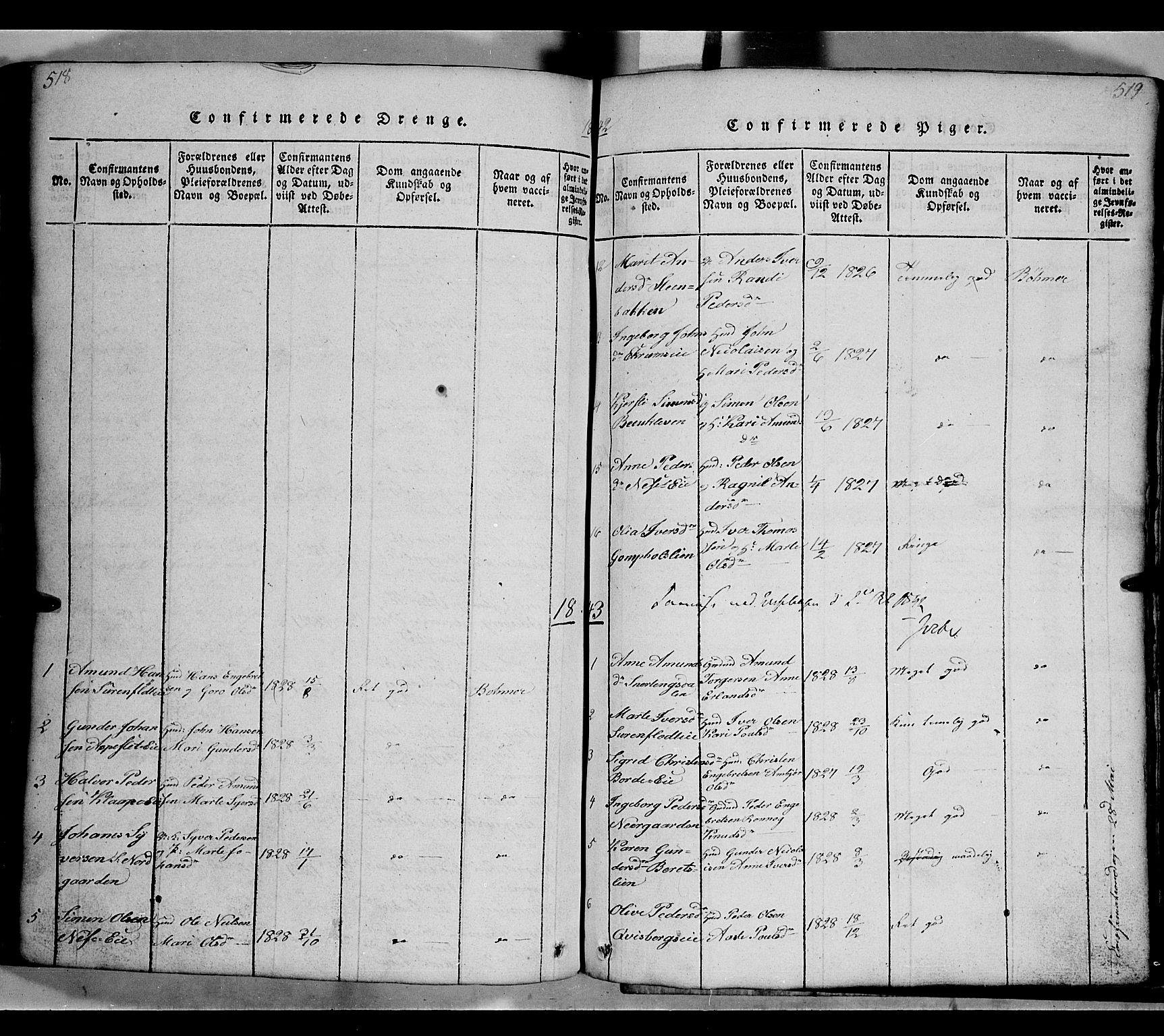 SAH, Gausdal prestekontor, Klokkerbok nr. 2, 1818-1874, s. 518-519