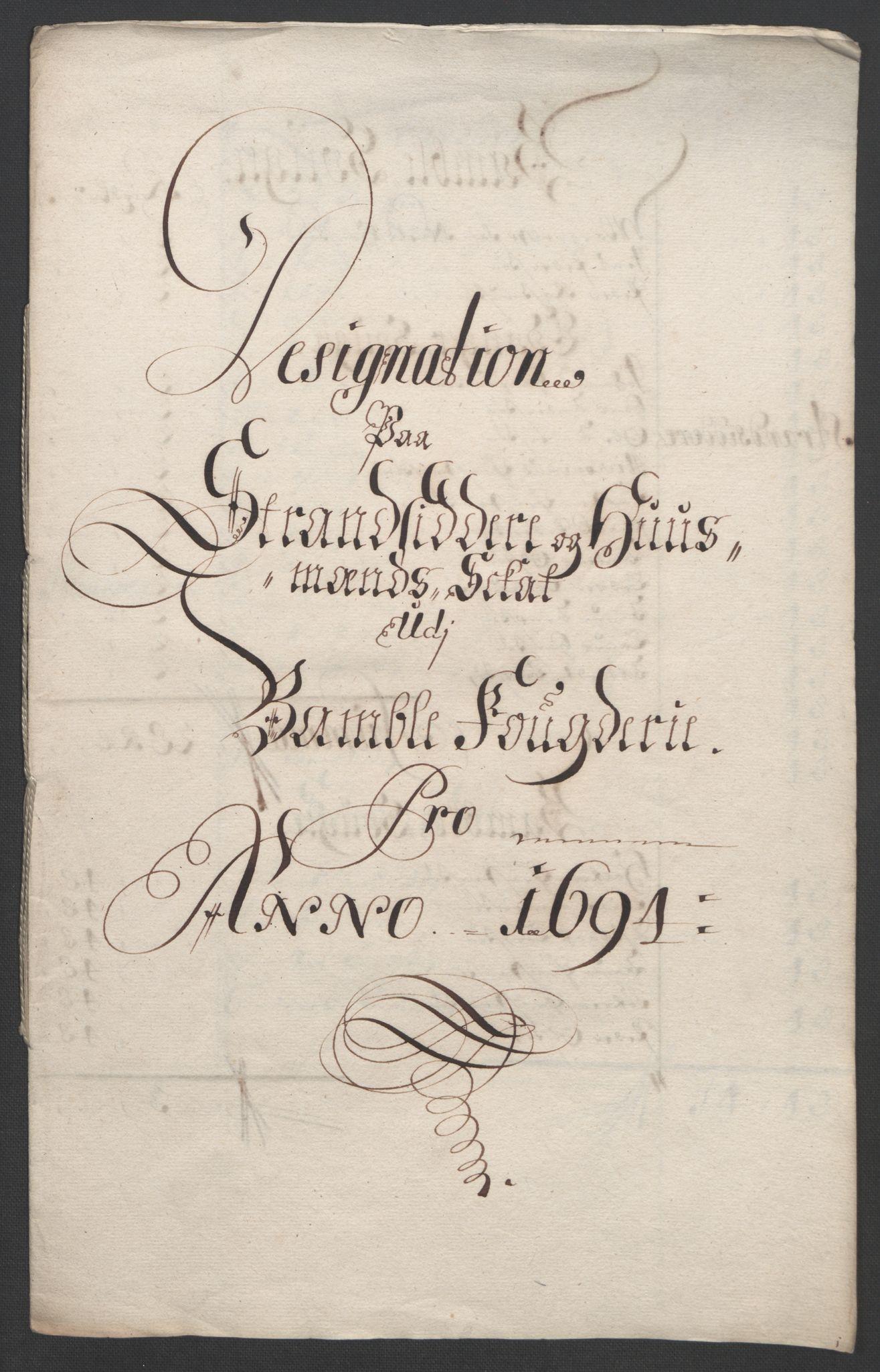 RA, Rentekammeret inntil 1814, Reviderte regnskaper, Fogderegnskap, R36/L2092: Fogderegnskap Øvre og Nedre Telemark og Bamble, 1694, s. 205