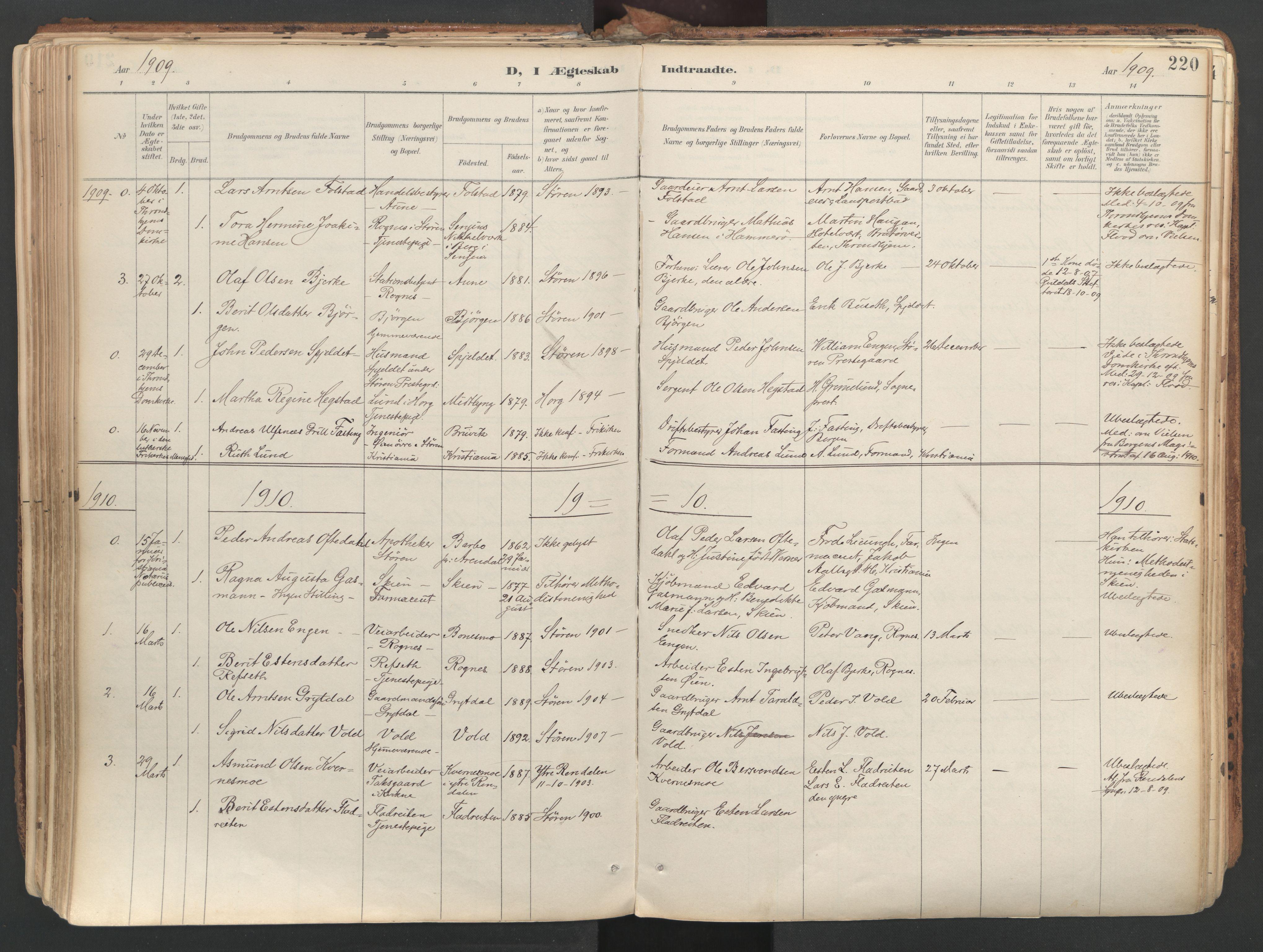 SAT, Ministerialprotokoller, klokkerbøker og fødselsregistre - Sør-Trøndelag, 687/L1004: Ministerialbok nr. 687A10, 1891-1923, s. 220