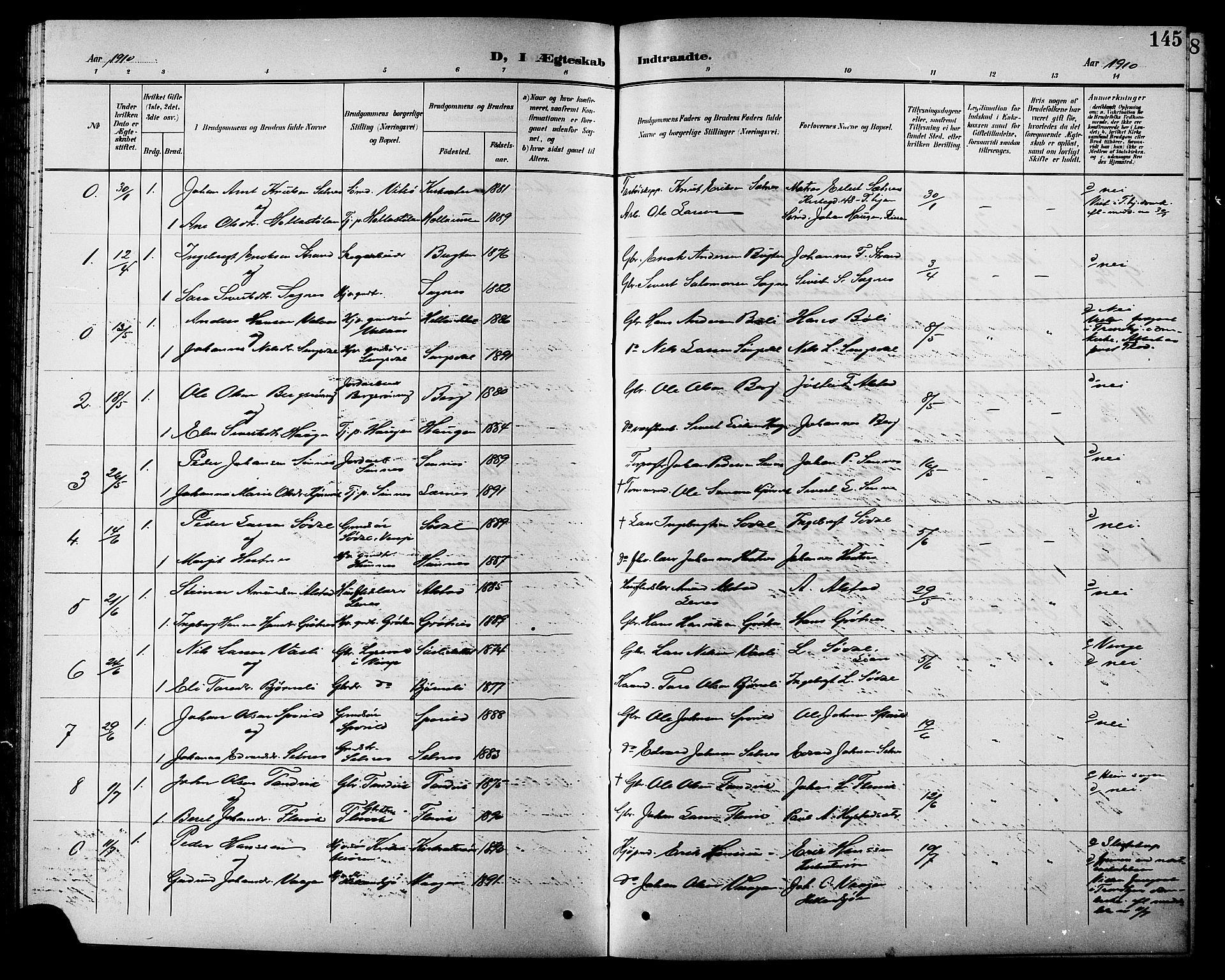 SAT, Ministerialprotokoller, klokkerbøker og fødselsregistre - Sør-Trøndelag, 630/L0505: Klokkerbok nr. 630C03, 1899-1914, s. 145