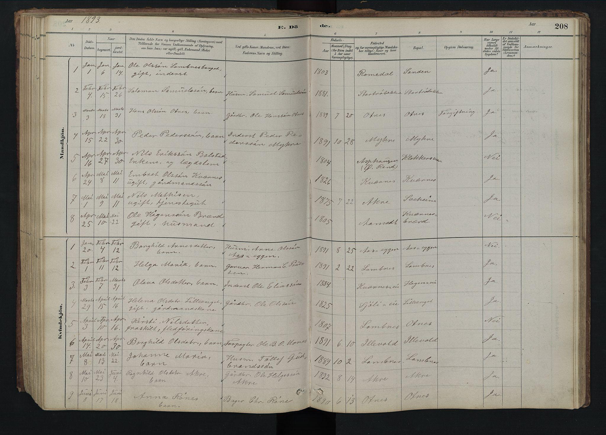 SAH, Rendalen prestekontor, H/Ha/Hab/L0009: Klokkerbok nr. 9, 1879-1902, s. 208