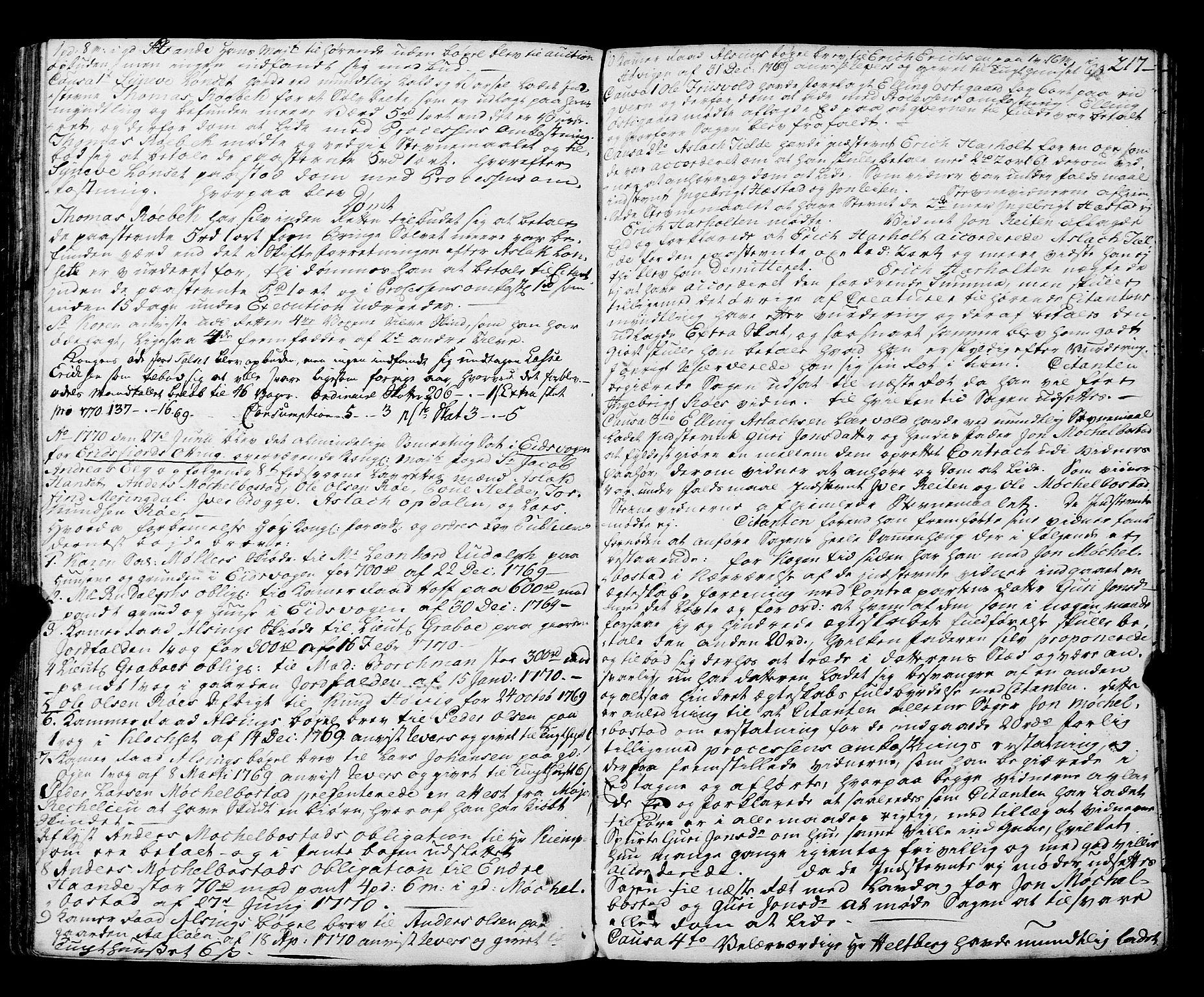 SAT, Romsdal sorenskriveri, 1/1A/L0015: Tingbok, 1765-1775, s. 216b-217a