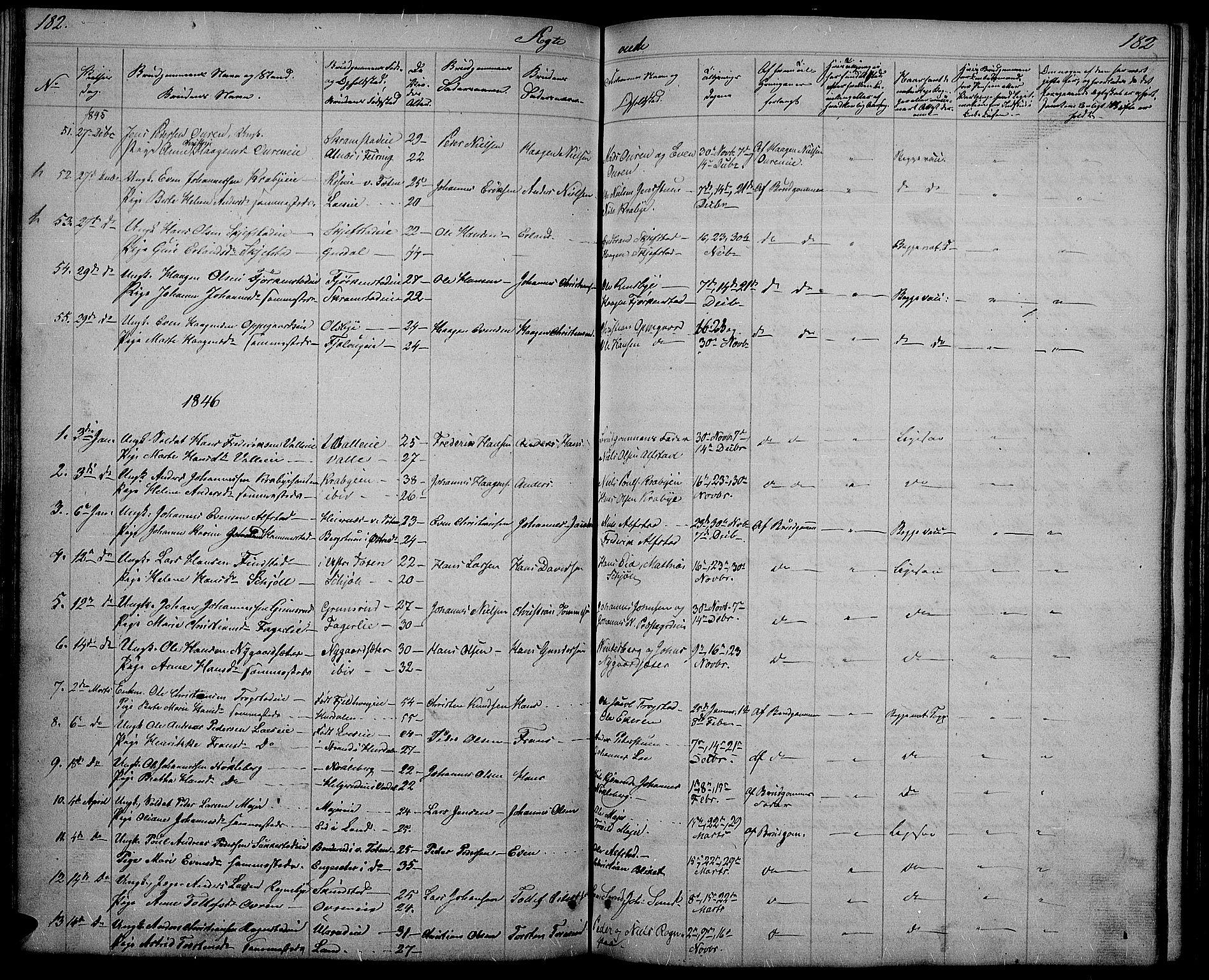 SAH, Østre Toten prestekontor, Klokkerbok nr. 2, 1840-1847, s. 182