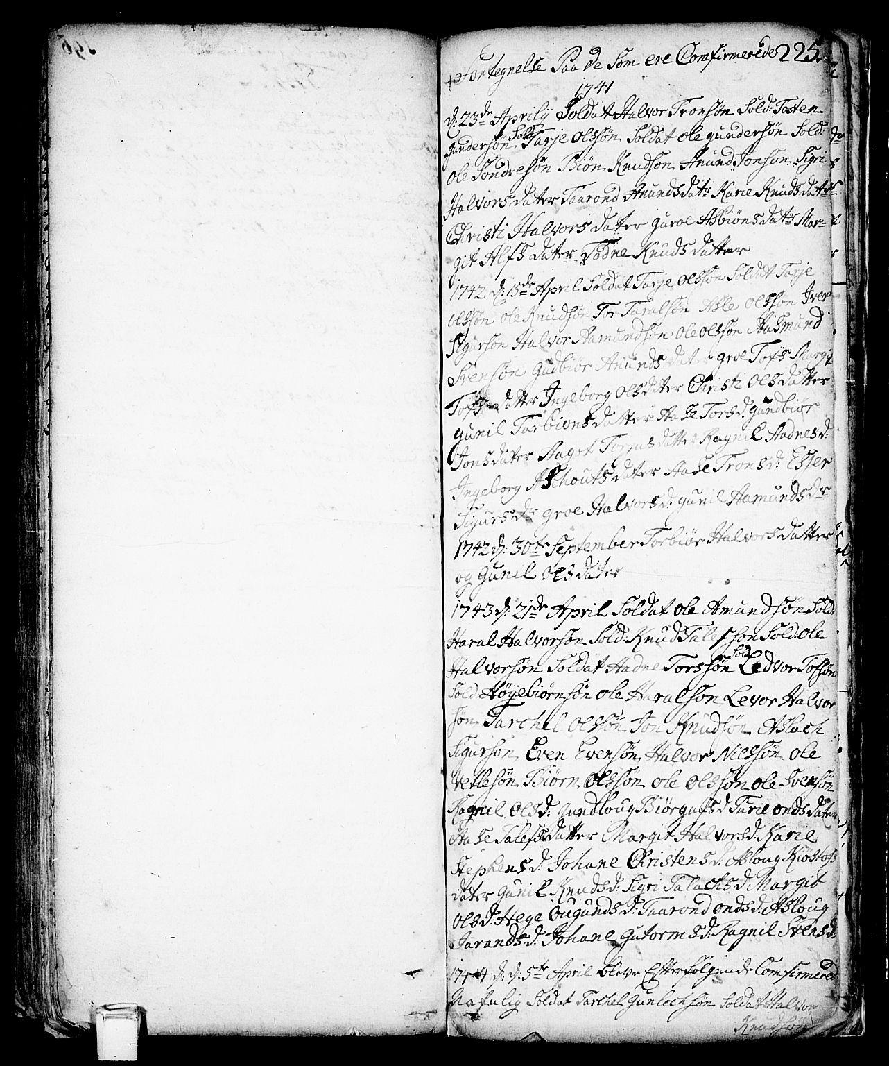 SAKO, Vinje kirkebøker, F/Fa/L0001: Ministerialbok nr. I 1, 1717-1766, s. 225