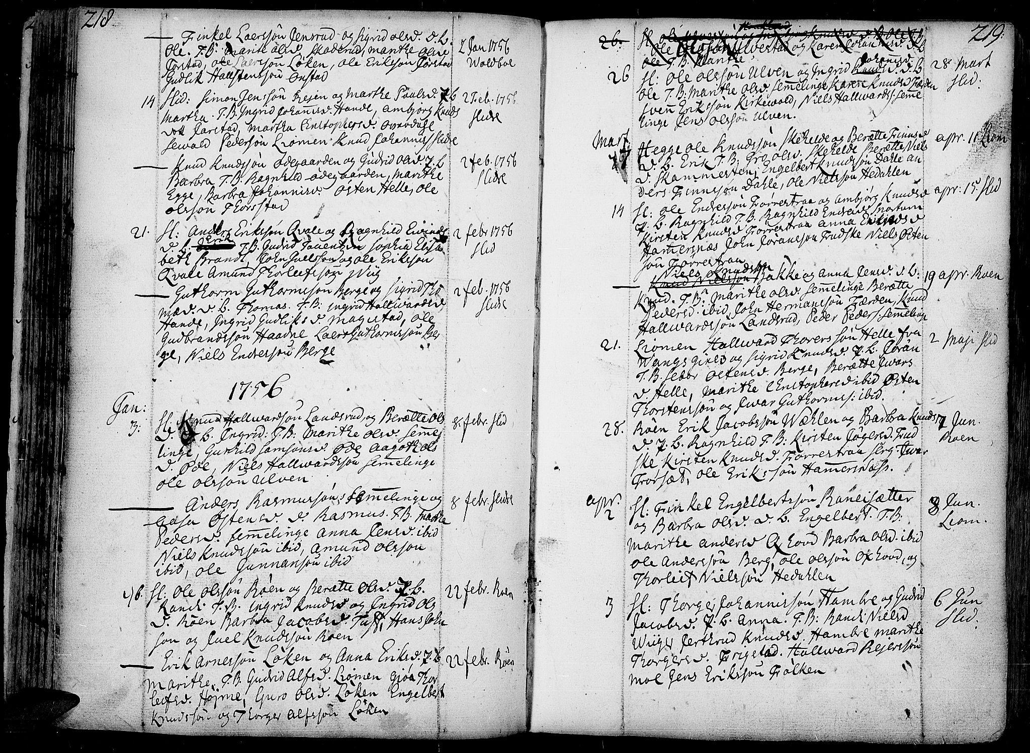 SAH, Slidre prestekontor, Ministerialbok nr. 1, 1724-1814, s. 218-219