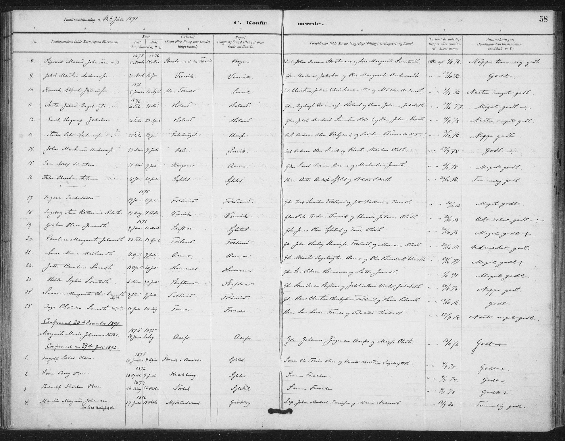 SAT, Ministerialprotokoller, klokkerbøker og fødselsregistre - Nord-Trøndelag, 783/L0660: Ministerialbok nr. 783A02, 1886-1918, s. 58