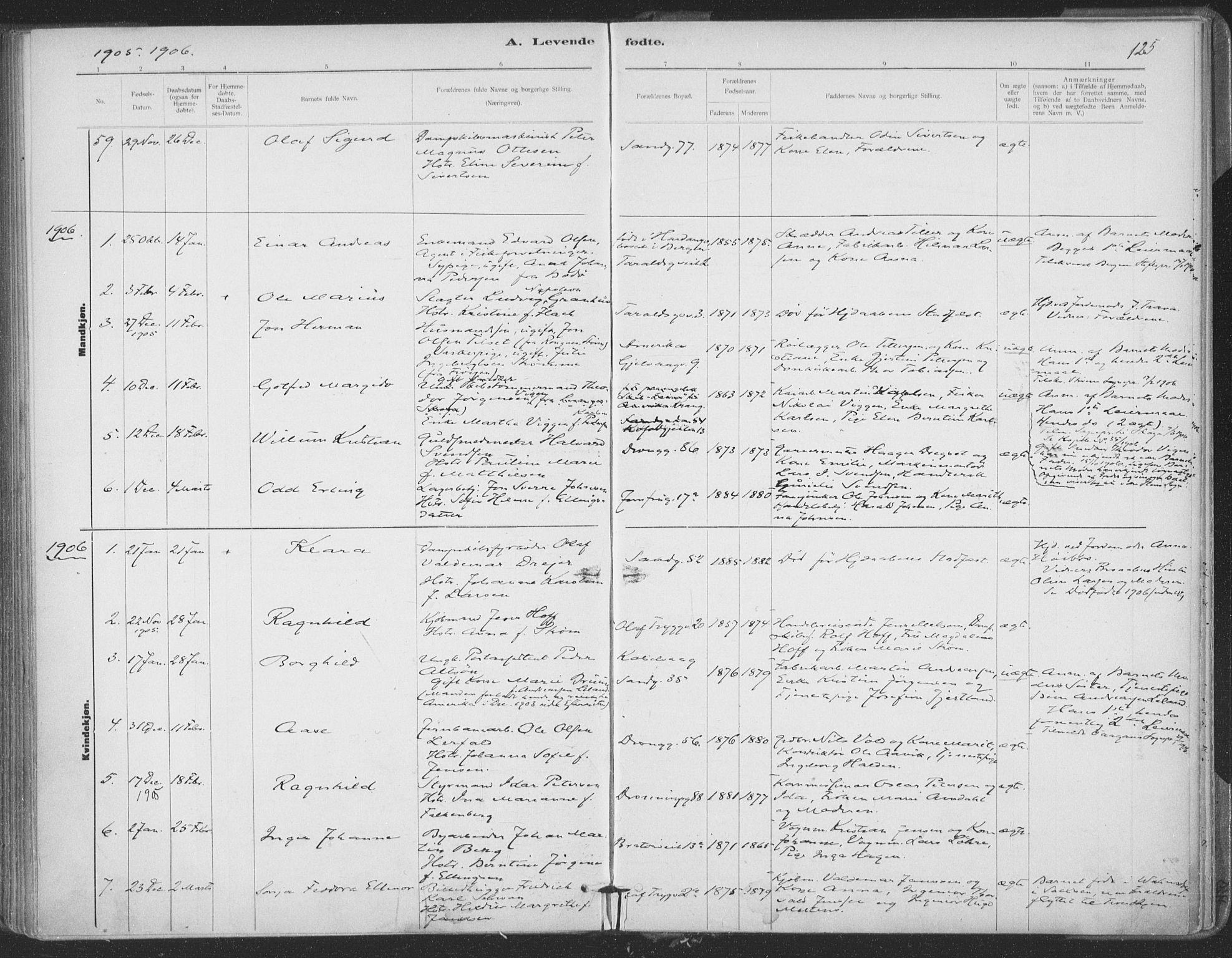 SAT, Ministerialprotokoller, klokkerbøker og fødselsregistre - Sør-Trøndelag, 602/L0122: Ministerialbok nr. 602A20, 1892-1908, s. 125
