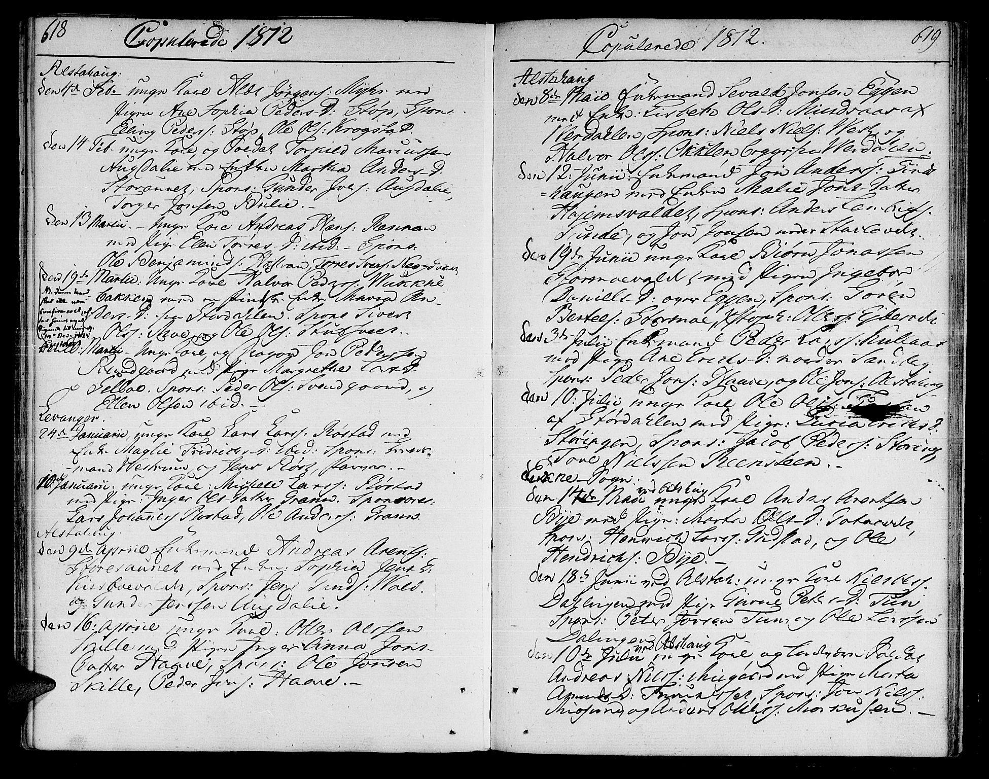 SAT, Ministerialprotokoller, klokkerbøker og fødselsregistre - Nord-Trøndelag, 717/L0145: Ministerialbok nr. 717A03 /1, 1810-1815, s. 618-619