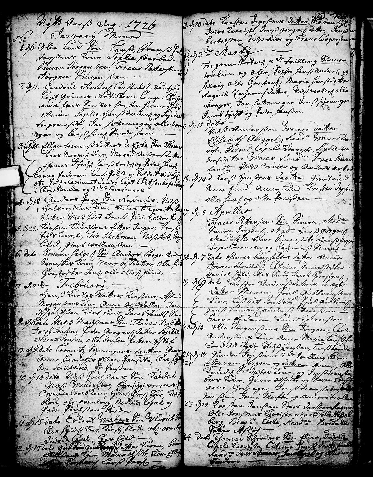 SAKO, Skien kirkebøker, F/Fa/L0002: Ministerialbok nr. 2, 1716-1757, s. 85
