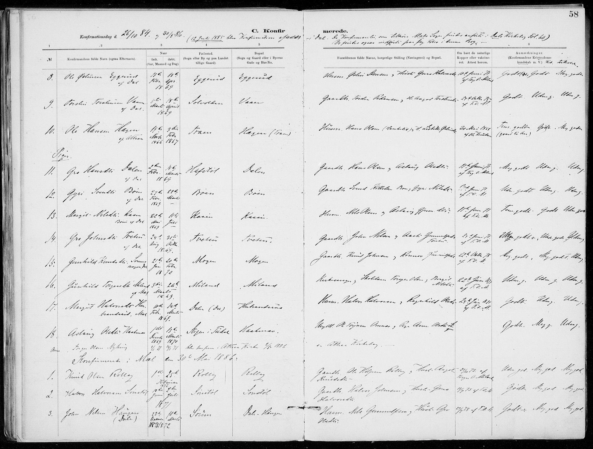 SAKO, Tinn kirkebøker, F/Fb/L0002: Ministerialbok nr. II 2, 1878-1917, s. 58
