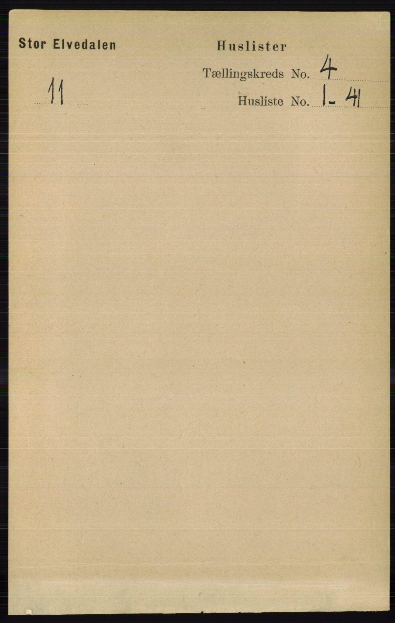 RA, Folketelling 1891 for 0430 Stor-Elvdal herred, 1891, s. 1382
