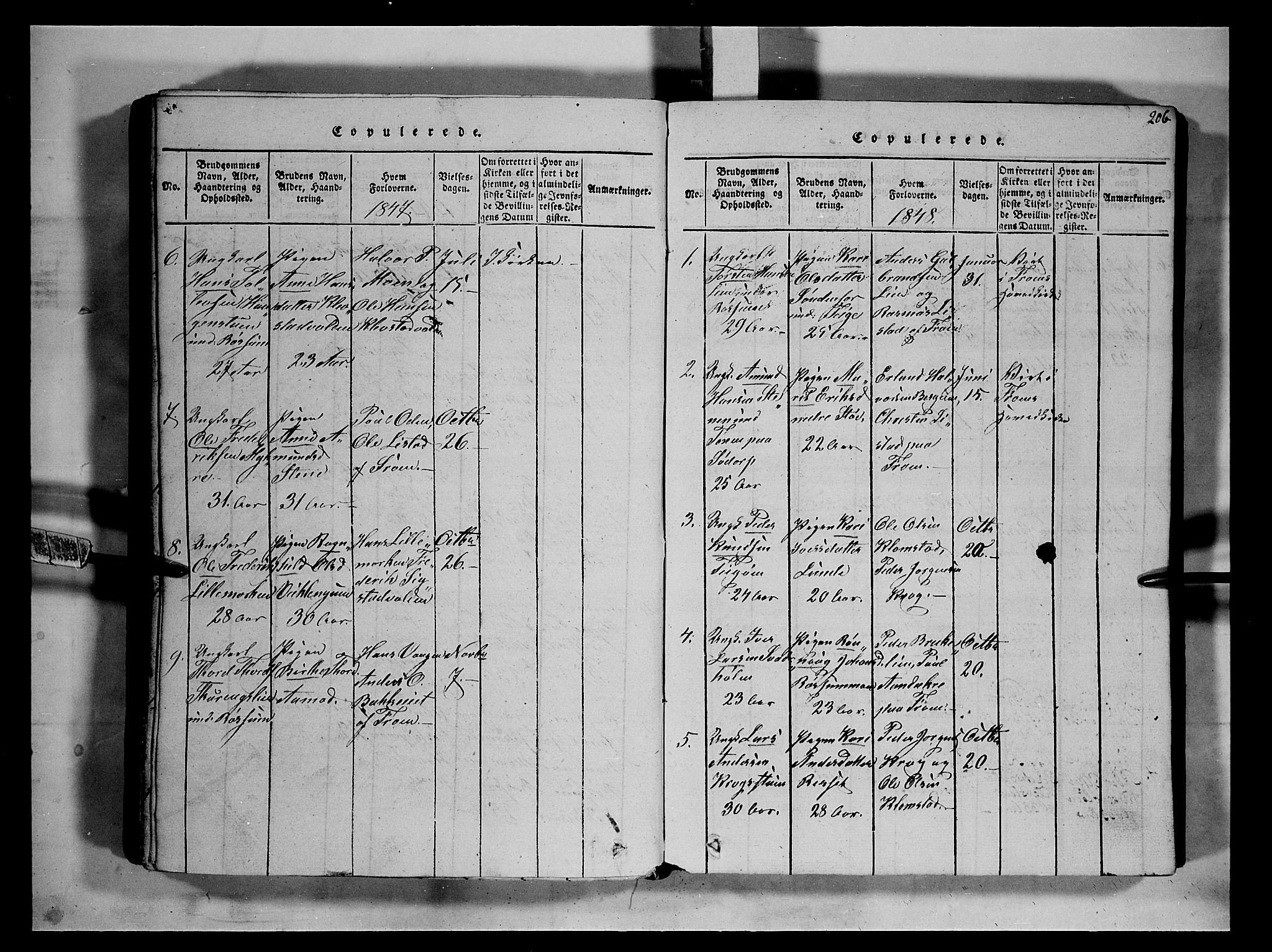 SAH, Fron prestekontor, H/Ha/Hab/L0002: Klokkerbok nr. 2, 1816-1850, s. 206