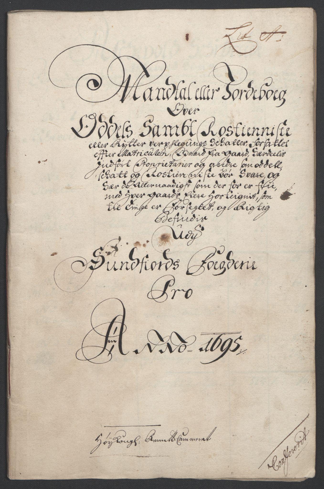 RA, Rentekammeret inntil 1814, Reviderte regnskaper, Fogderegnskap, R53/L3422: Fogderegnskap Sunn- og Nordfjord, 1695-1696, s. 21