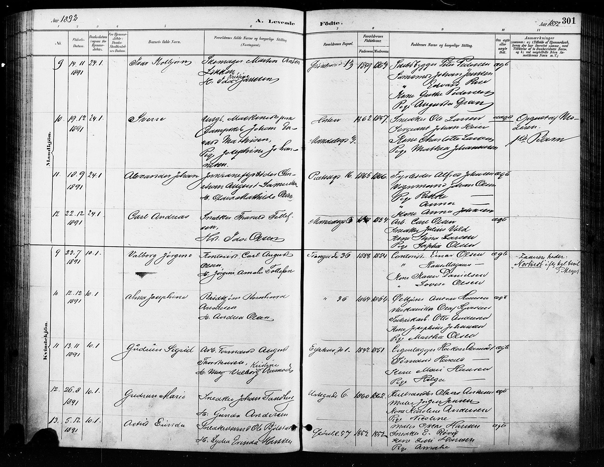 SAO, Grønland prestekontor Kirkebøker, F/Fa/L0009: Ministerialbok nr. 9, 1888-1893, s. 301