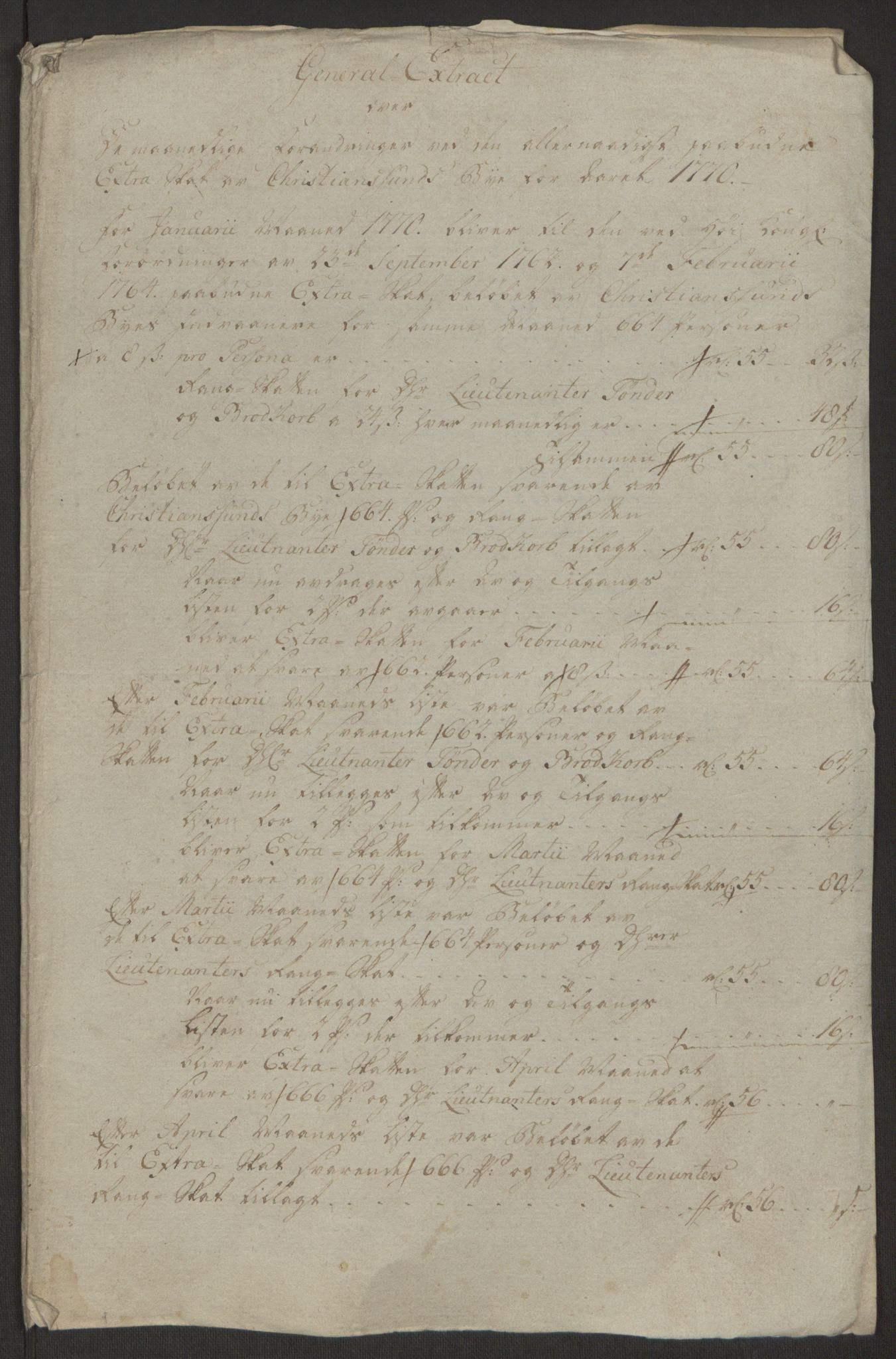 RA, Rentekammeret inntil 1814, Reviderte regnskaper, Byregnskaper, R/Rr/L0495: [R1] Kontribusjonsregnskap, 1762-1772, s. 232