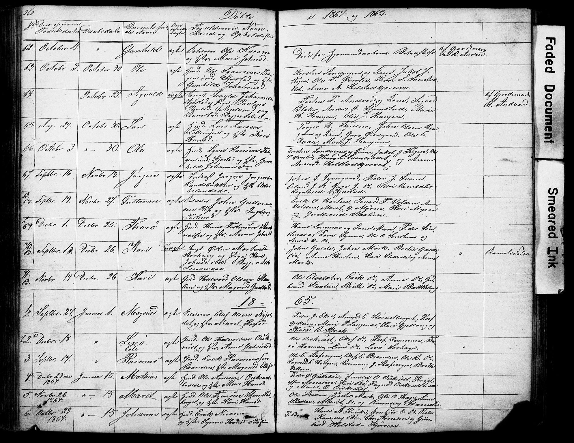 SAH, Lom prestekontor, L/L0012: Klokkerbok nr. 12, 1845-1873, s. 260-261