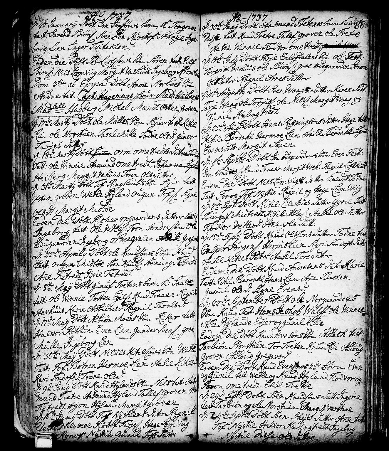 SAKO, Vinje kirkebøker, F/Fa/L0001: Ministerialbok nr. I 1, 1717-1766, s. 88