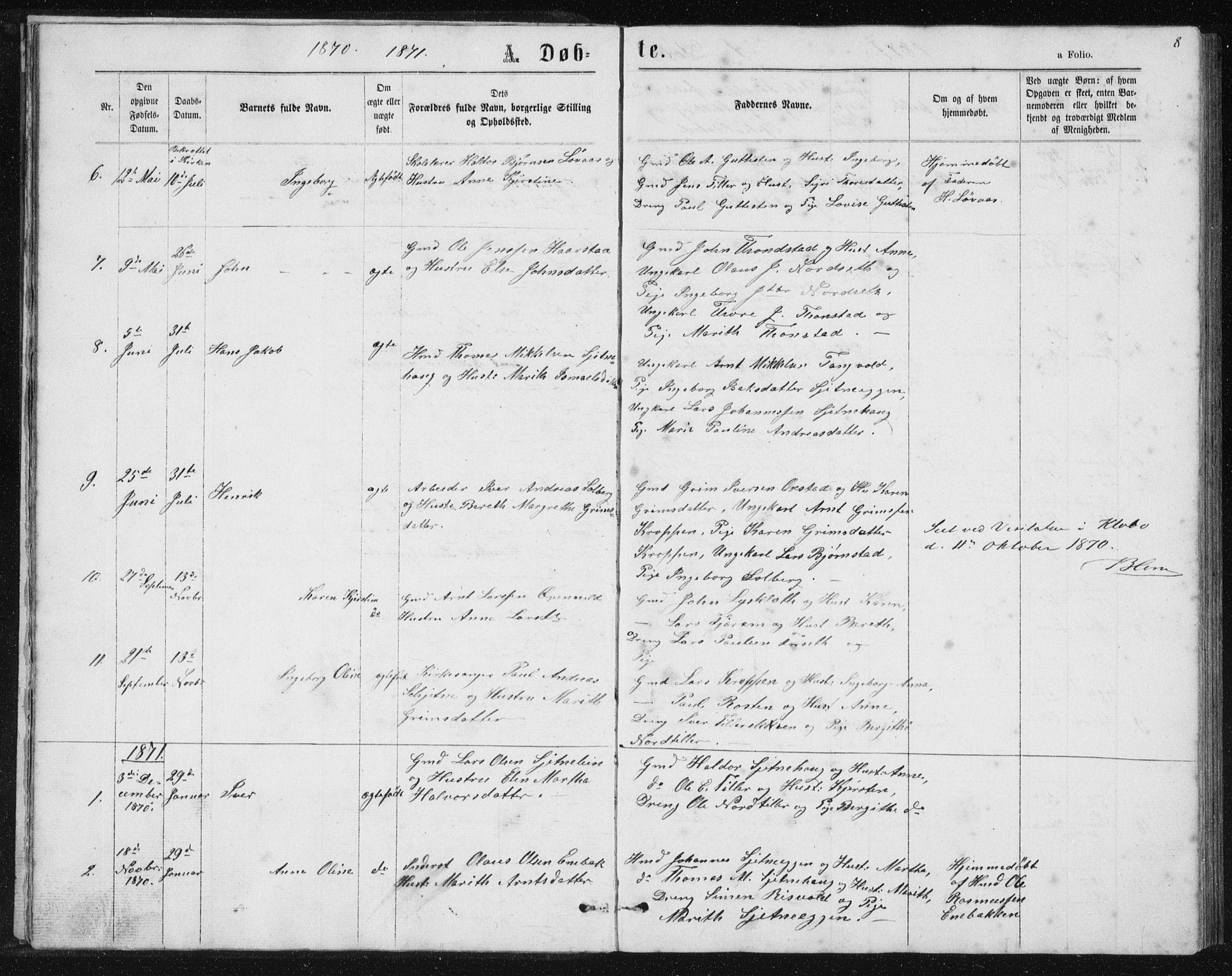 SAT, Ministerialprotokoller, klokkerbøker og fødselsregistre - Sør-Trøndelag, 621/L0459: Klokkerbok nr. 621C02, 1866-1895, s. 8