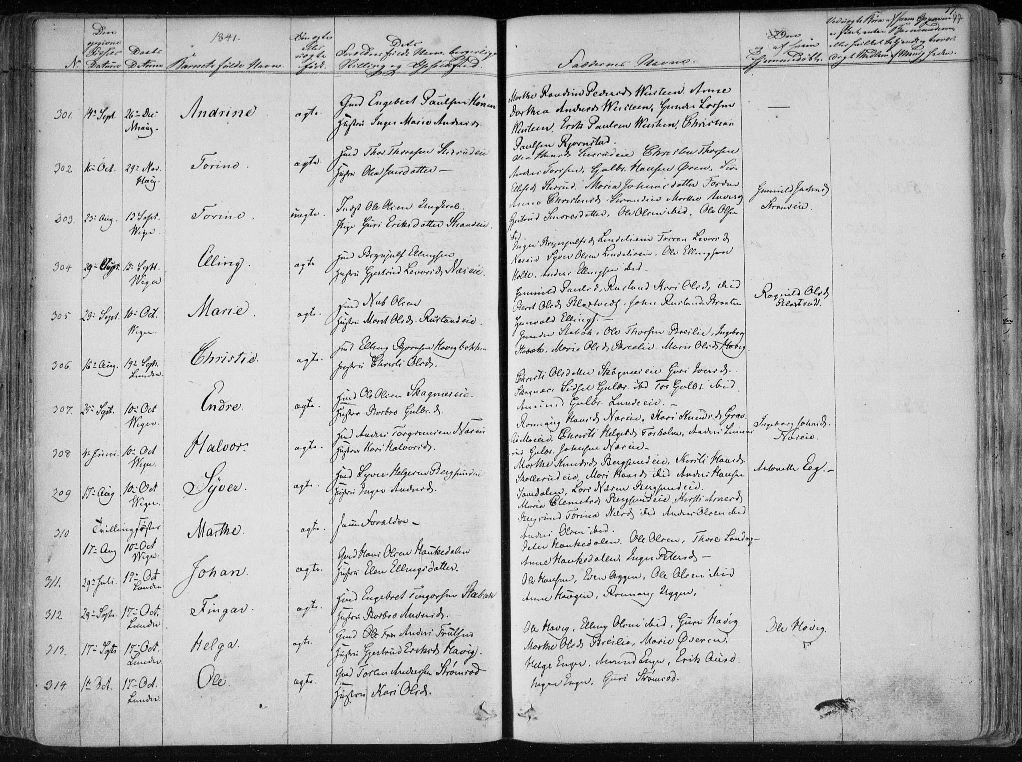SAKO, Norderhov kirkebøker, F/Fa/L0010: Ministerialbok nr. 10, 1837-1847, s. 77