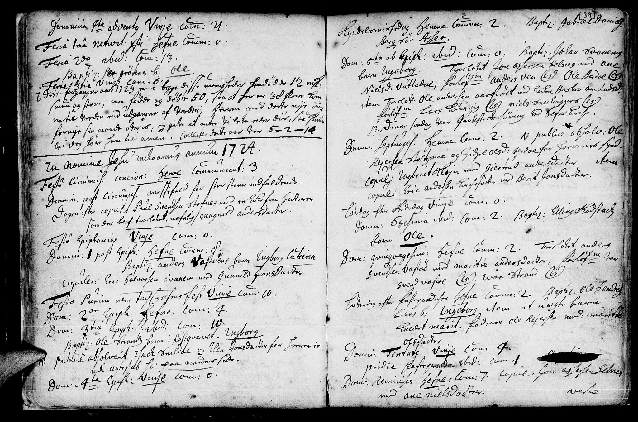 SAT, Ministerialprotokoller, klokkerbøker og fødselsregistre - Sør-Trøndelag, 630/L0488: Ministerialbok nr. 630A01, 1717-1756, s. 38-39