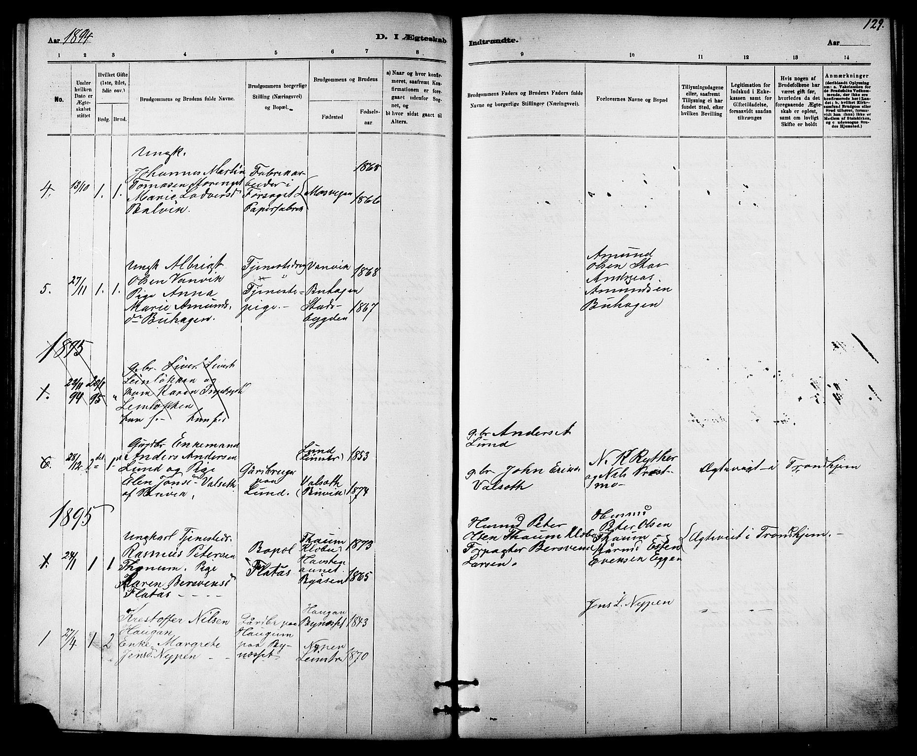 SAT, Ministerialprotokoller, klokkerbøker og fødselsregistre - Sør-Trøndelag, 613/L0395: Klokkerbok nr. 613C03, 1887-1909, s. 129