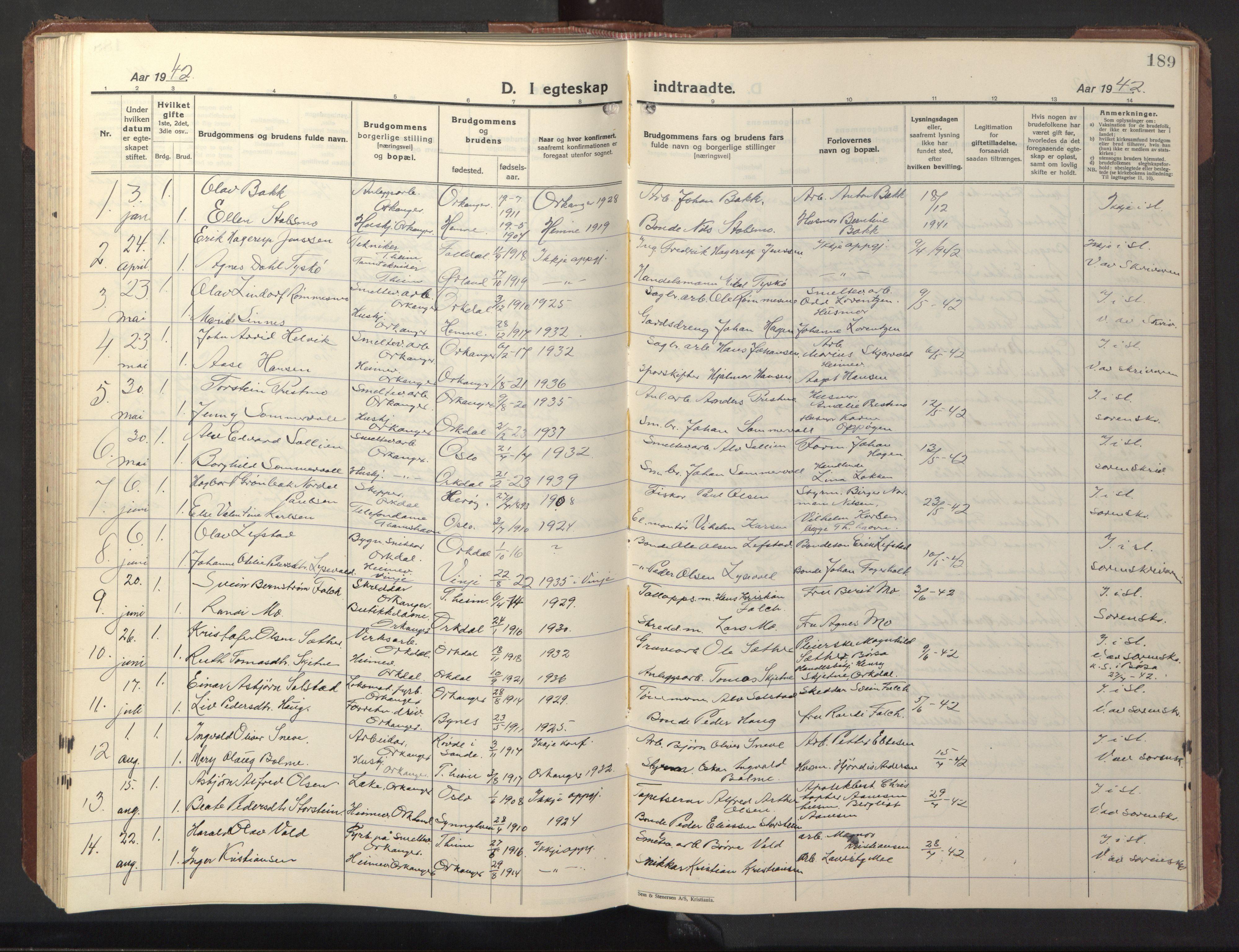 SAT, Ministerialprotokoller, klokkerbøker og fødselsregistre - Sør-Trøndelag, 669/L0832: Klokkerbok nr. 669C02, 1925-1953, s. 189