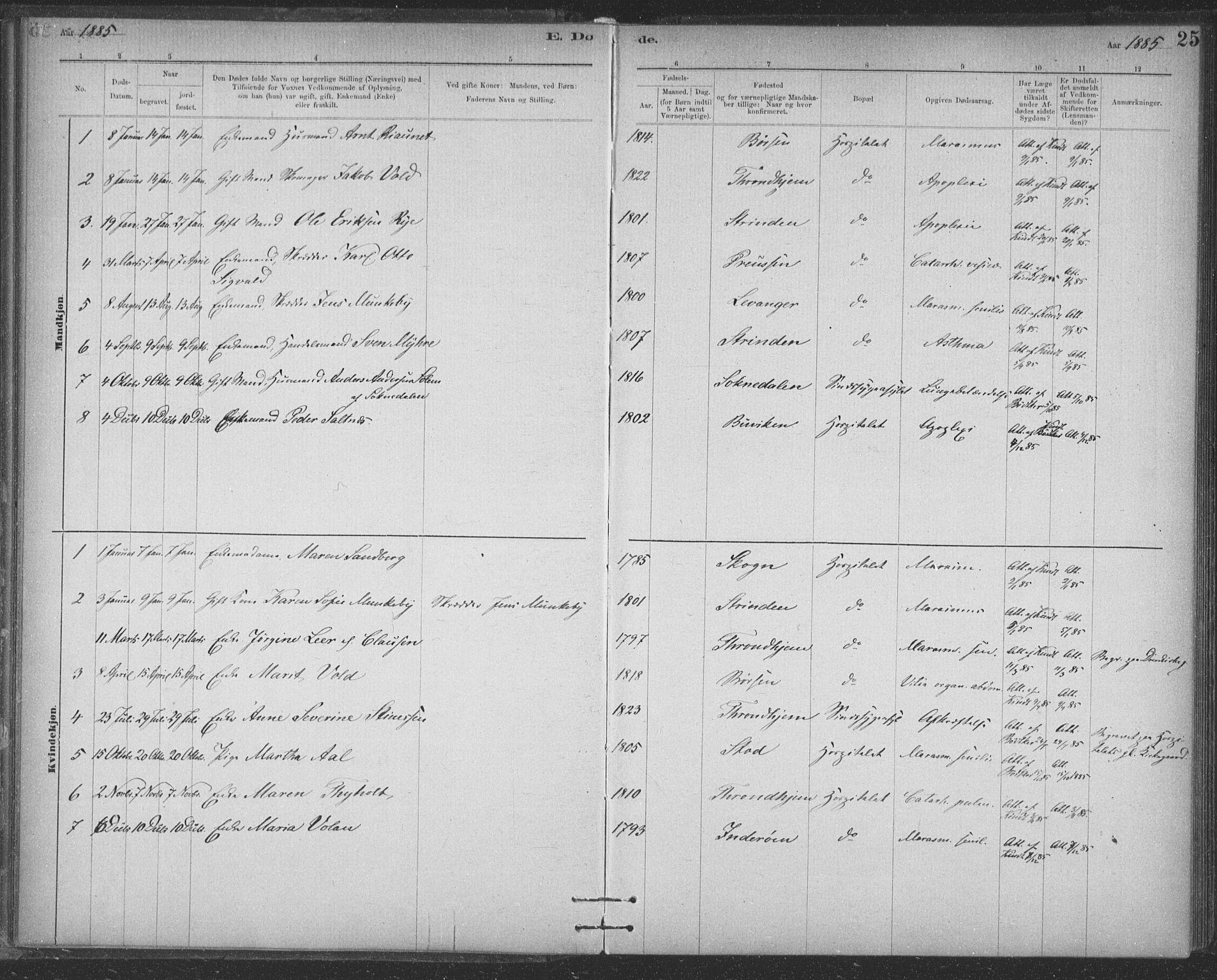 SAT, Ministerialprotokoller, klokkerbøker og fødselsregistre - Sør-Trøndelag, 623/L0470: Ministerialbok nr. 623A04, 1884-1938, s. 25