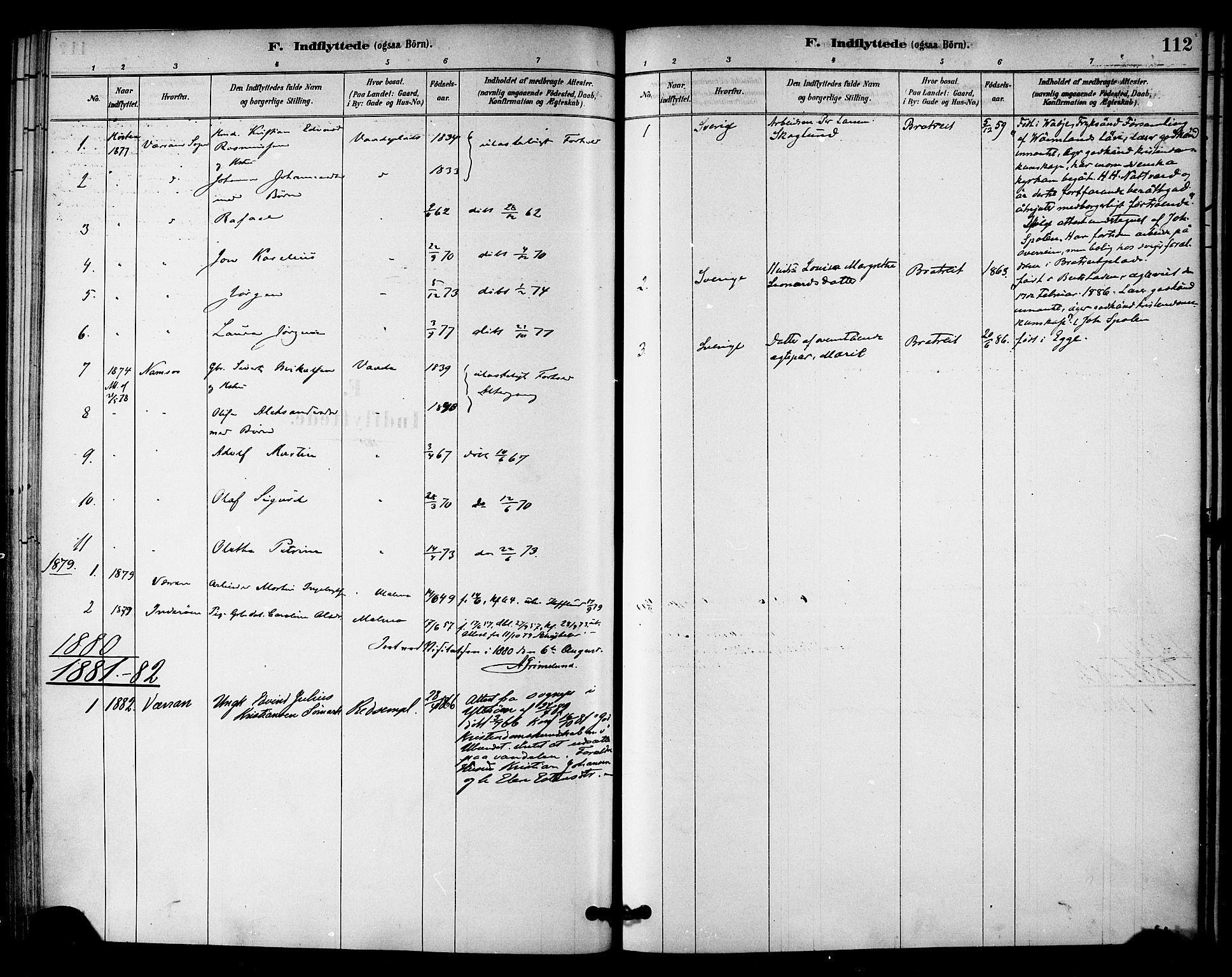 SAT, Ministerialprotokoller, klokkerbøker og fødselsregistre - Nord-Trøndelag, 745/L0429: Ministerialbok nr. 745A01, 1878-1894, s. 112