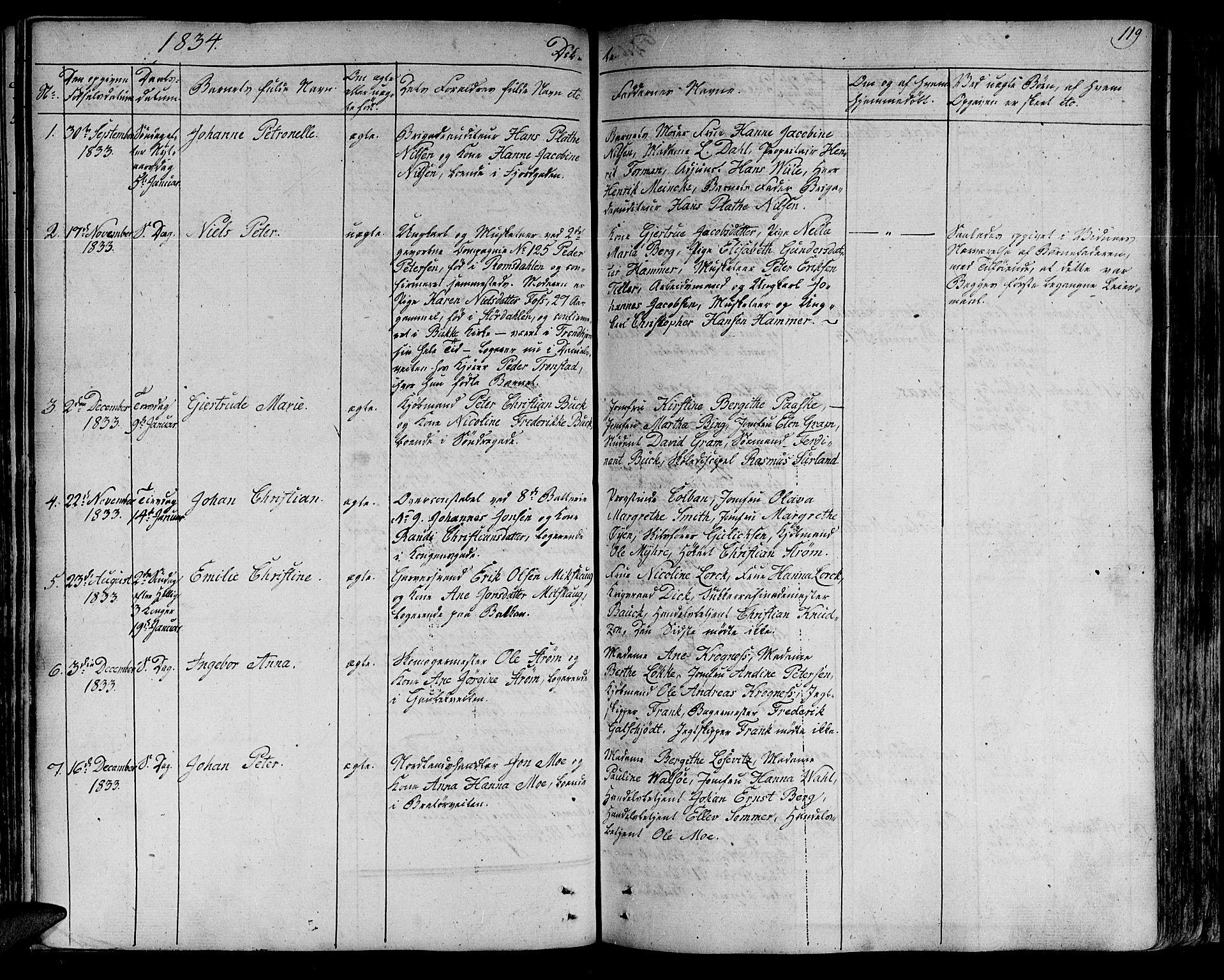 SAT, Ministerialprotokoller, klokkerbøker og fødselsregistre - Sør-Trøndelag, 602/L0108: Ministerialbok nr. 602A06, 1821-1839, s. 119