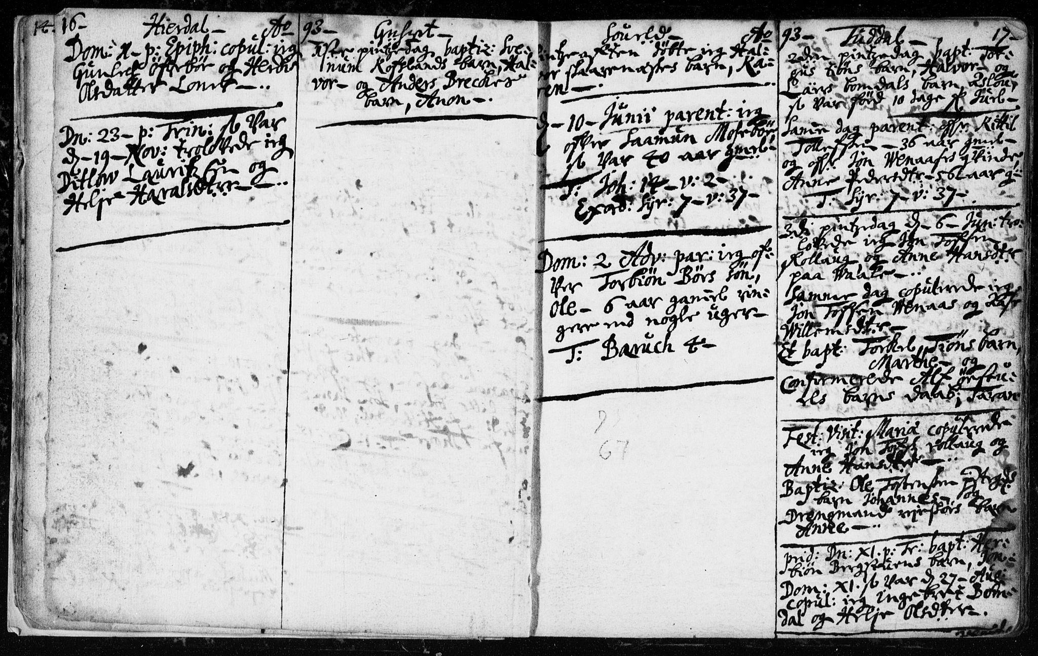 SAKO, Hjartdal kirkebøker, F/Fa/L0001: Ministerialbok nr. I 1, 1685-1714, s. 16-17