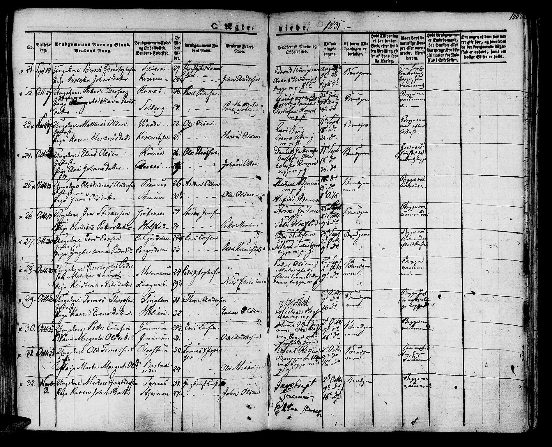 SAT, Ministerialprotokoller, klokkerbøker og fødselsregistre - Nord-Trøndelag, 741/L0390: Ministerialbok nr. 741A04, 1822-1836, s. 155