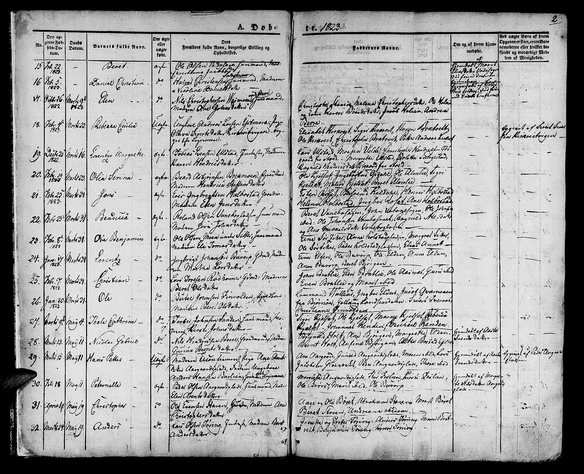SAT, Ministerialprotokoller, klokkerbøker og fødselsregistre - Nord-Trøndelag, 741/L0390: Ministerialbok nr. 741A04, 1822-1836, s. 2