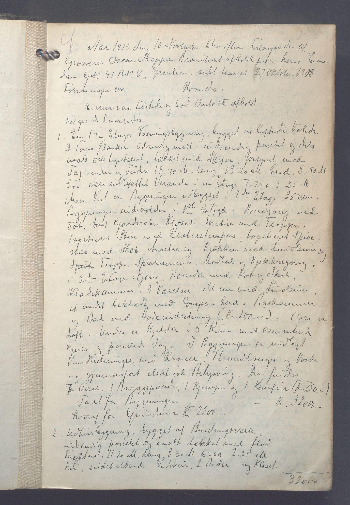 OBA, Lensmennene i Aker, F/Fa/L0017: Branntakstprotokoll, 1913-1916, s. 0a