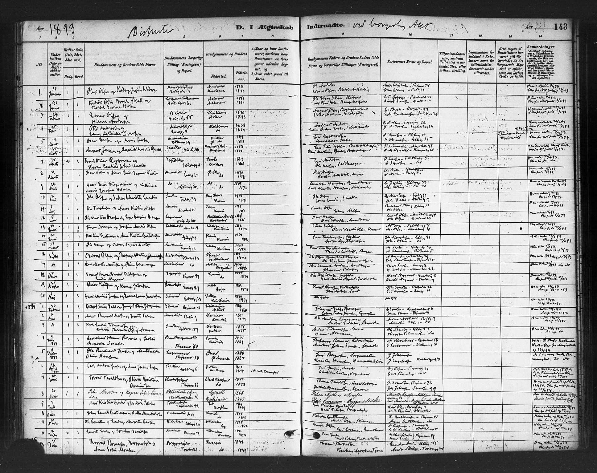 SAO, Petrus prestekontor Kirkebøker, F/Fa/L0002: Ministerialbok nr. 2, 1881-1896, s. 143