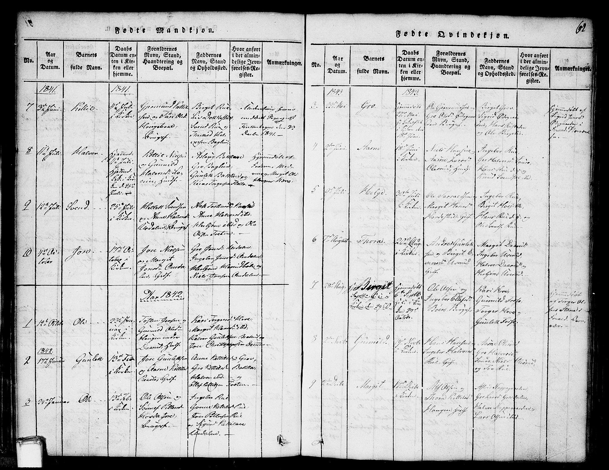SAKO, Gransherad kirkebøker, G/Gb/L0001: Klokkerbok nr. II 1, 1815-1860, s. 62