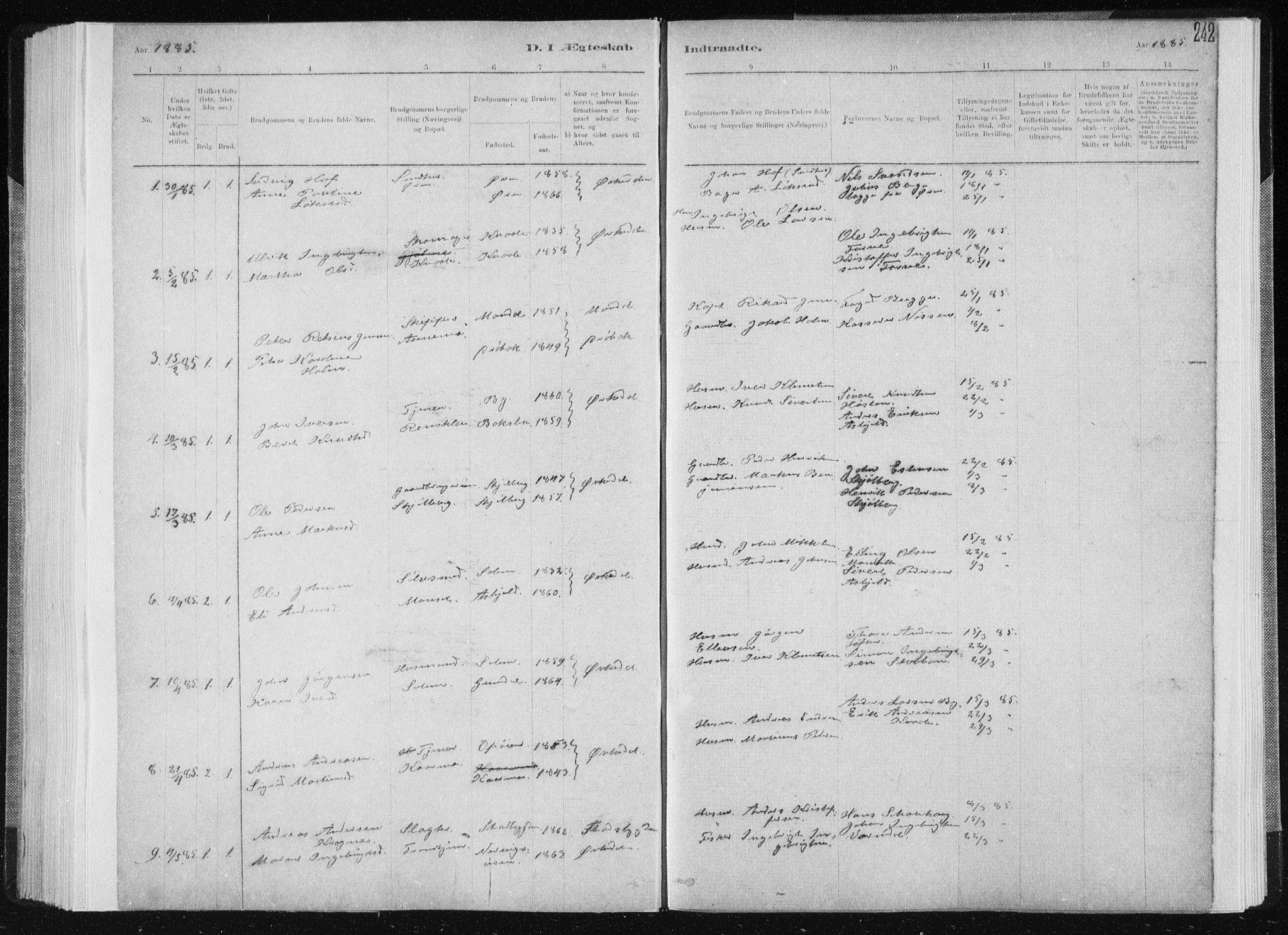 SAT, Ministerialprotokoller, klokkerbøker og fødselsregistre - Sør-Trøndelag, 668/L0818: Klokkerbok nr. 668C07, 1885-1898, s. 242