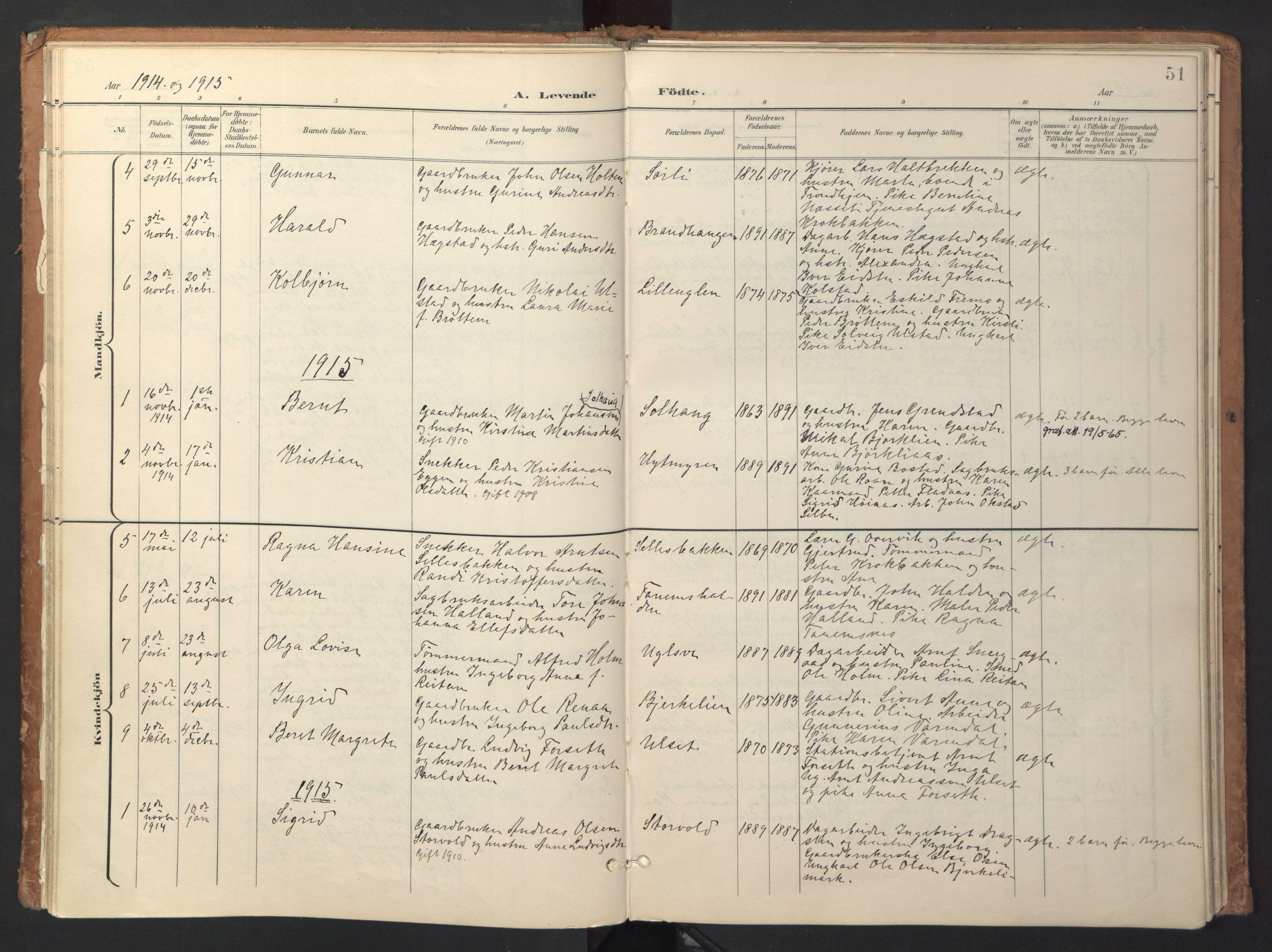 SAT, Ministerialprotokoller, klokkerbøker og fødselsregistre - Sør-Trøndelag, 618/L0448: Ministerialbok nr. 618A11, 1898-1916, s. 51