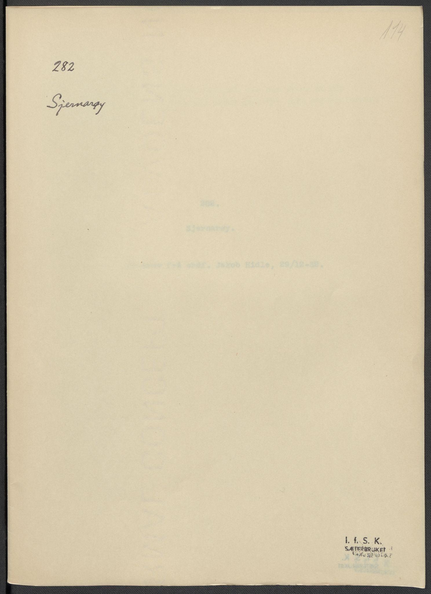 RA, Instituttet for sammenlignende kulturforskning, F/Fc/L0009: Eske B9:, 1932-1935, s. 114