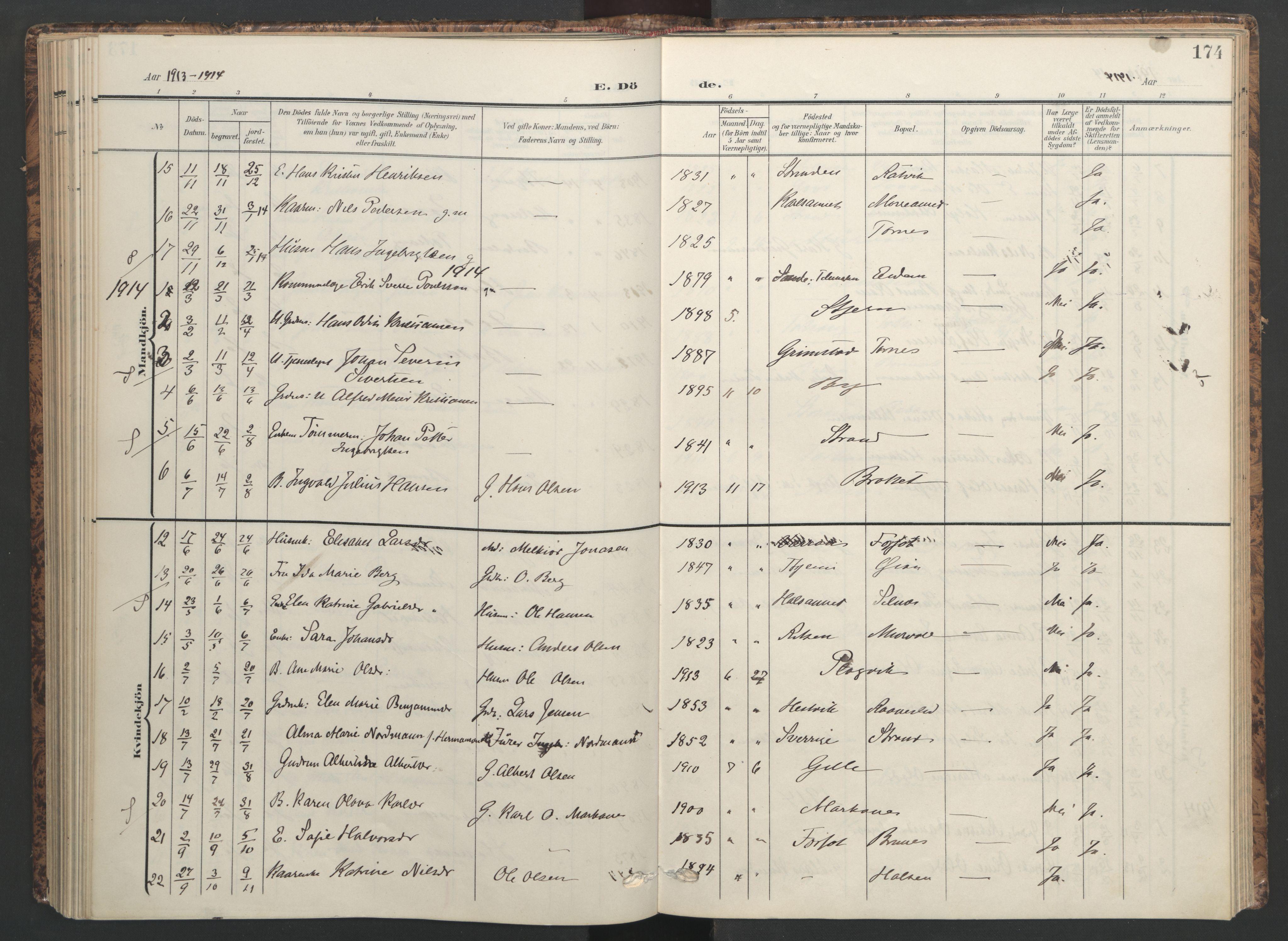 SAT, Ministerialprotokoller, klokkerbøker og fødselsregistre - Sør-Trøndelag, 655/L0682: Ministerialbok nr. 655A11, 1908-1922, s. 174