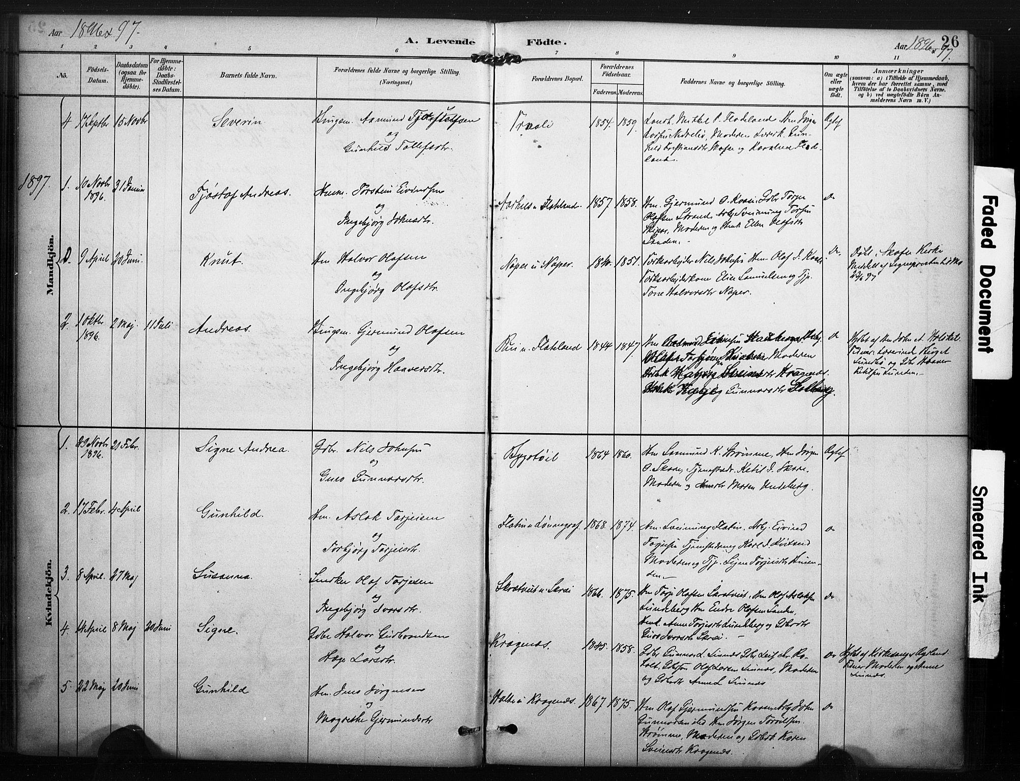SAKO, Kviteseid kirkebøker, F/Fc/L0002: Ministerialbok nr. III 2, 1882-1908, s. 26
