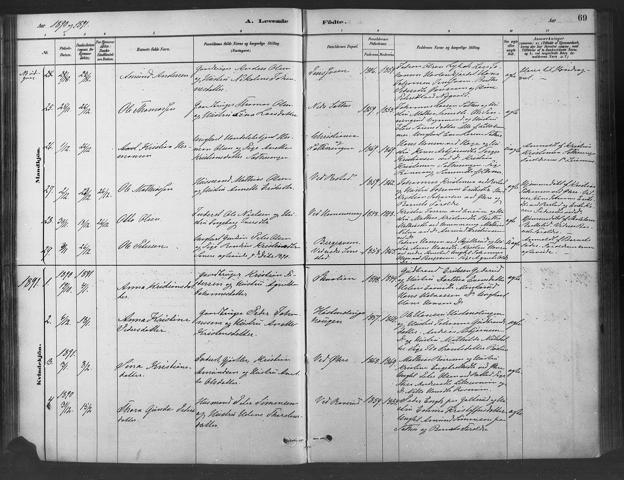 SAH, Fåberg prestekontor, Ministerialbok nr. 9, 1879-1898, s. 69