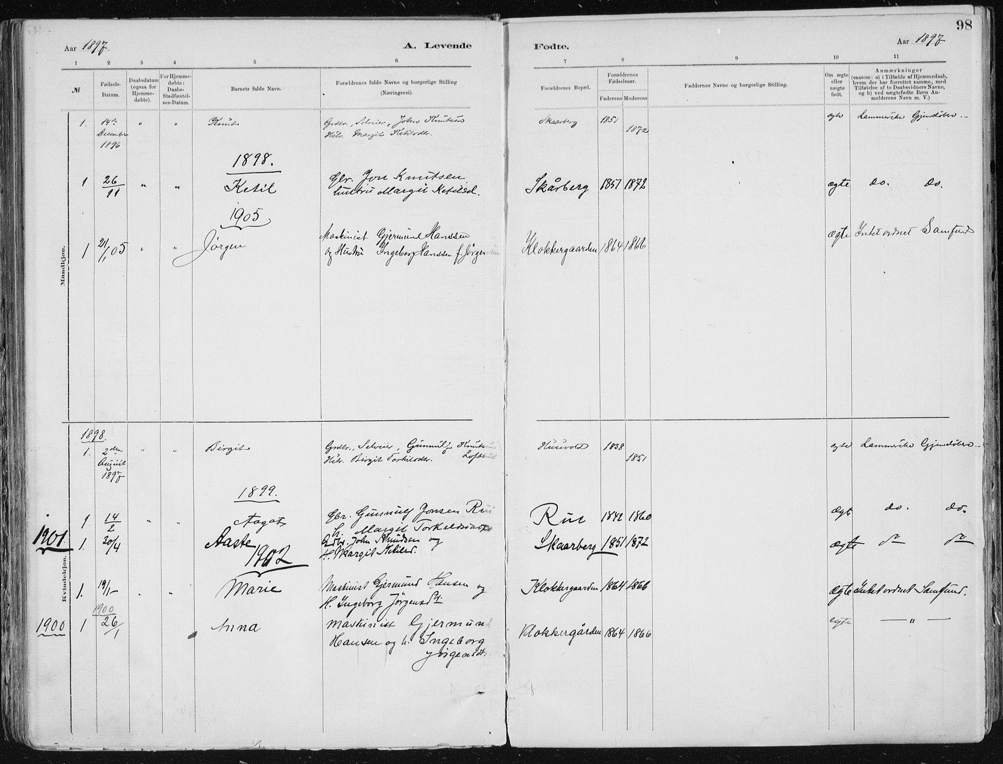 SAKO, Tinn kirkebøker, F/Fa/L0007: Ministerialbok nr. I 7, 1878-1922, s. 98
