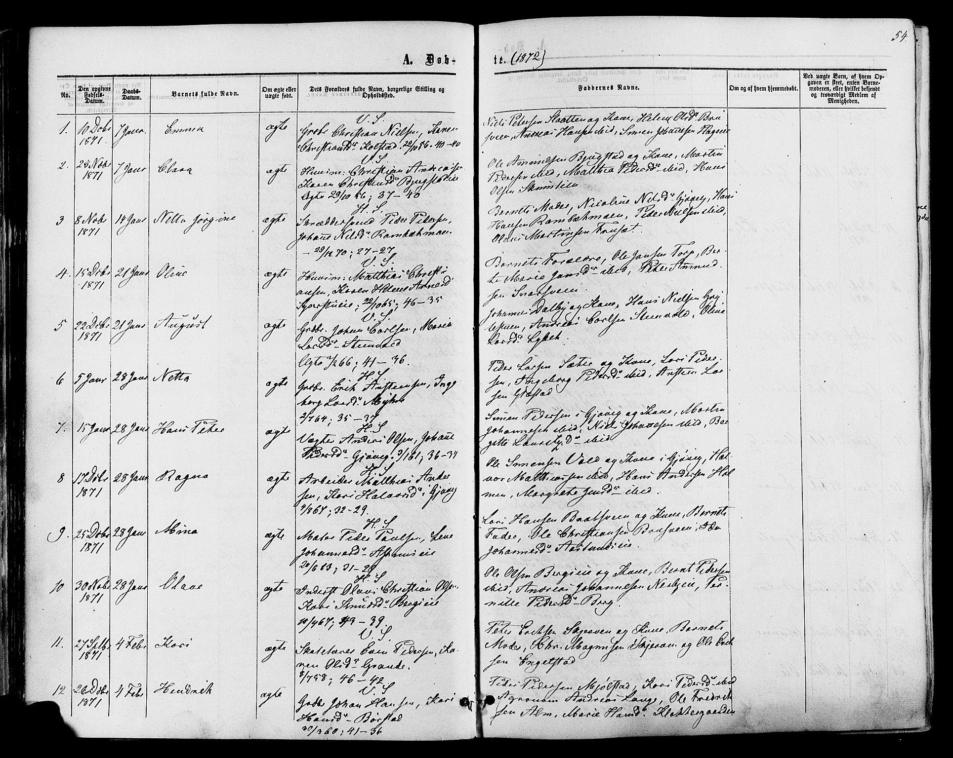 SAH, Vardal prestekontor, H/Ha/Haa/L0007: Ministerialbok nr. 7, 1867-1878, s. 54