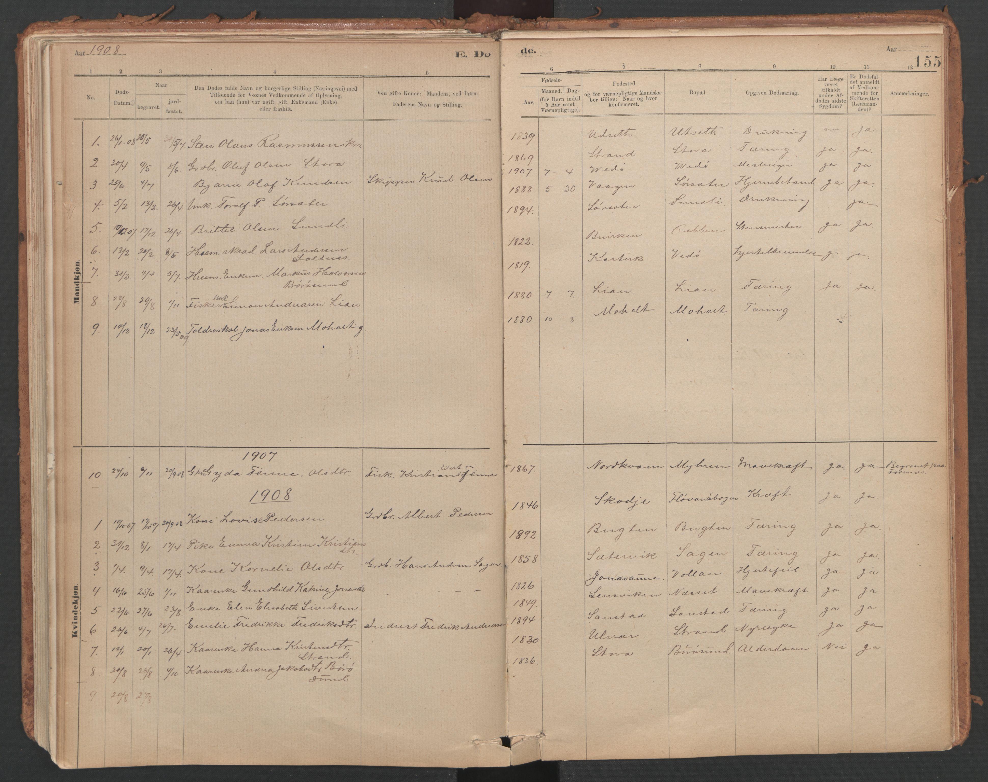 SAT, Ministerialprotokoller, klokkerbøker og fødselsregistre - Sør-Trøndelag, 639/L0572: Ministerialbok nr. 639A01, 1890-1920, s. 155