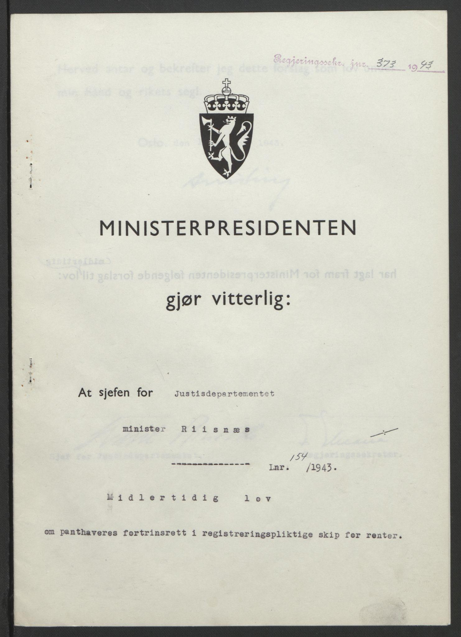 RA, NS-administrasjonen 1940-1945 (Statsrådsekretariatet, de kommisariske statsråder mm), D/Db/L0099: Lover, 1943, s. 731
