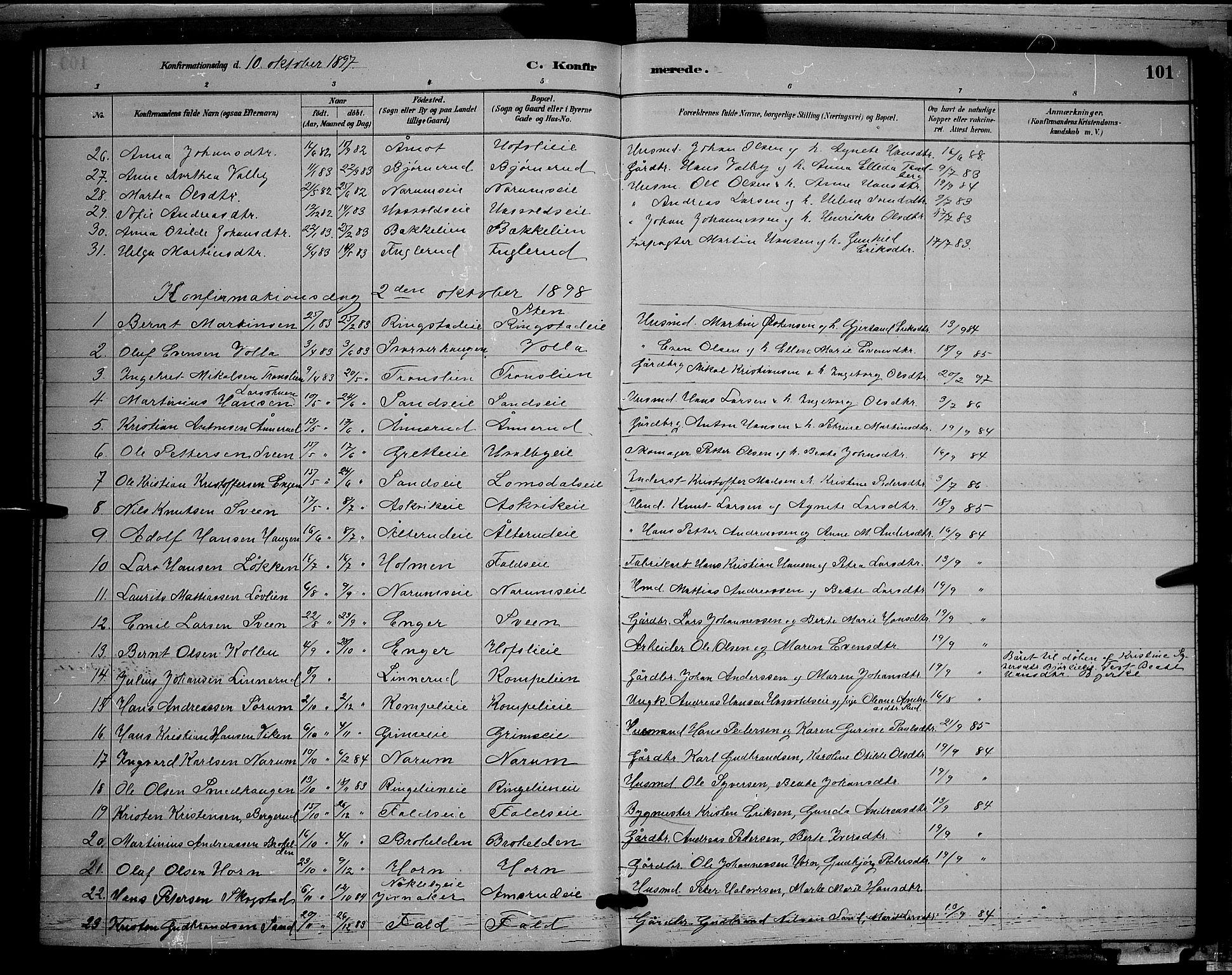 SAH, Søndre Land prestekontor, L/L0002: Klokkerbok nr. 2, 1884-1900, s. 101