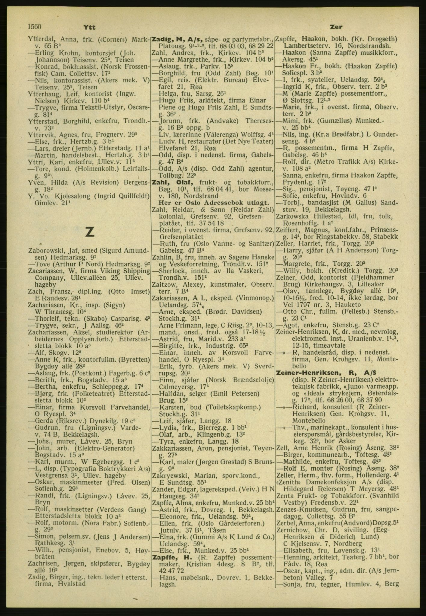 PUBL, Kristiania/Oslo adressebok, 1952, s. 1560