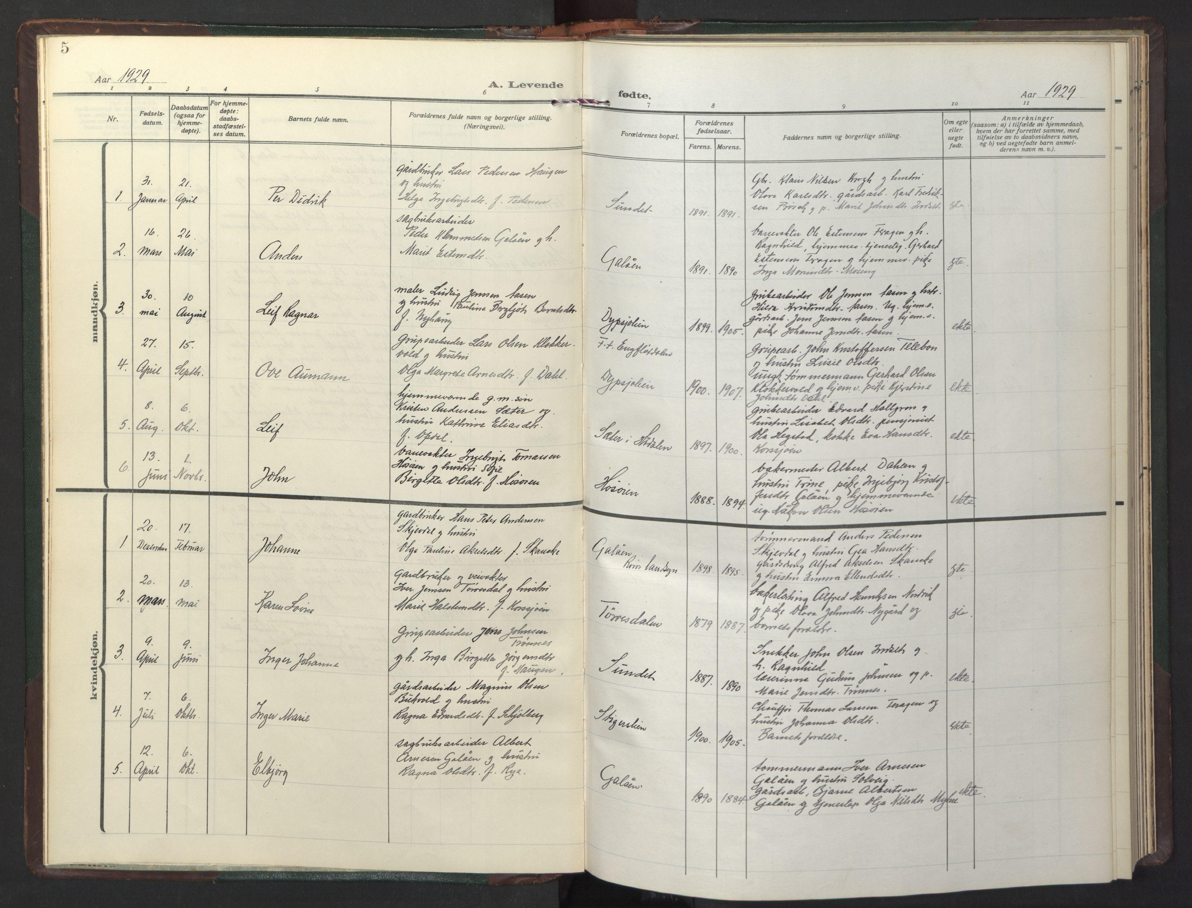 SAT, Ministerialprotokoller, klokkerbøker og fødselsregistre - Sør-Trøndelag, 681/L0944: Klokkerbok nr. 681C08, 1926-1954, s. 5
